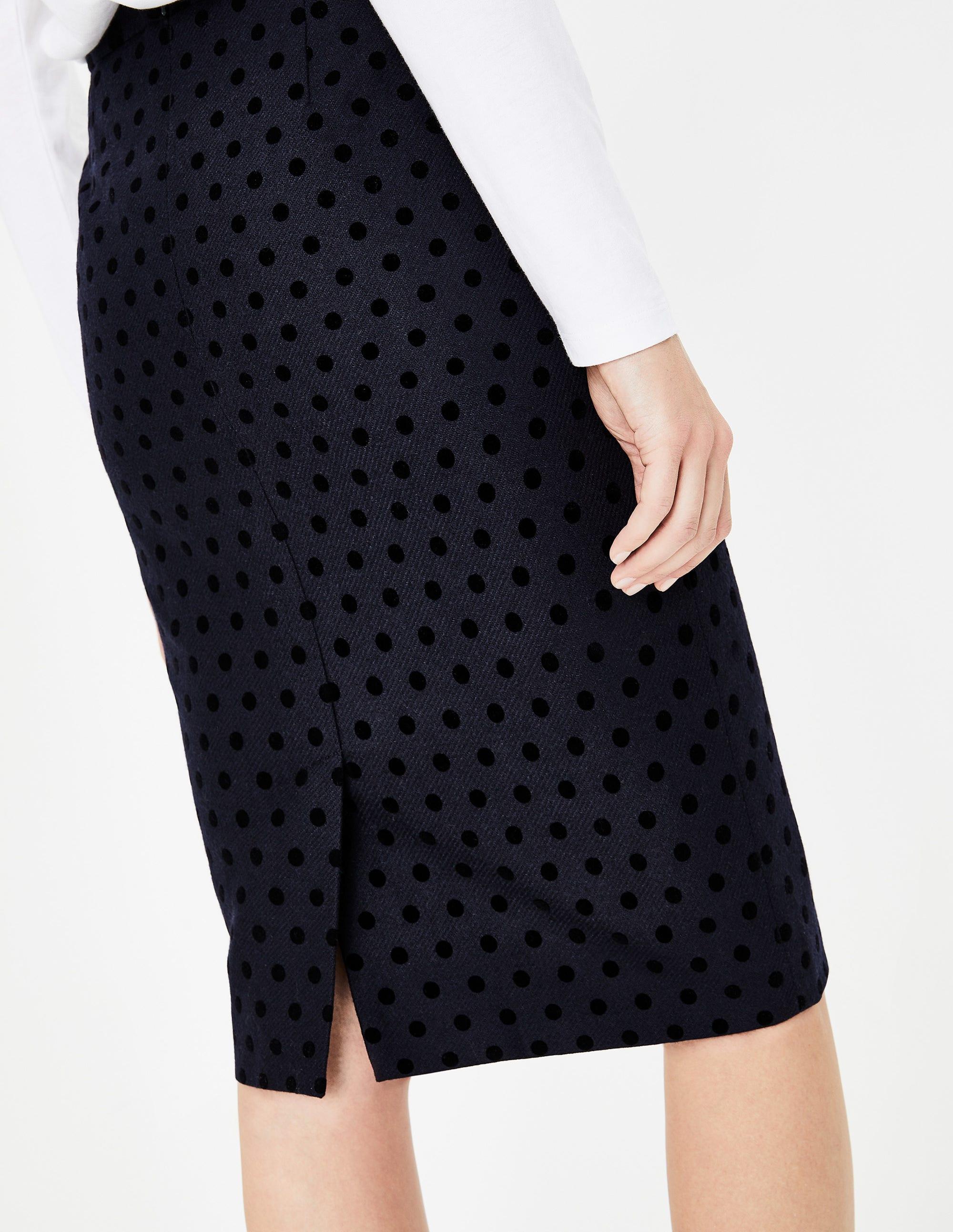 41039e4e9 Freya Pencil Skirt - Navy W/Black Flocked Spot | Boden US