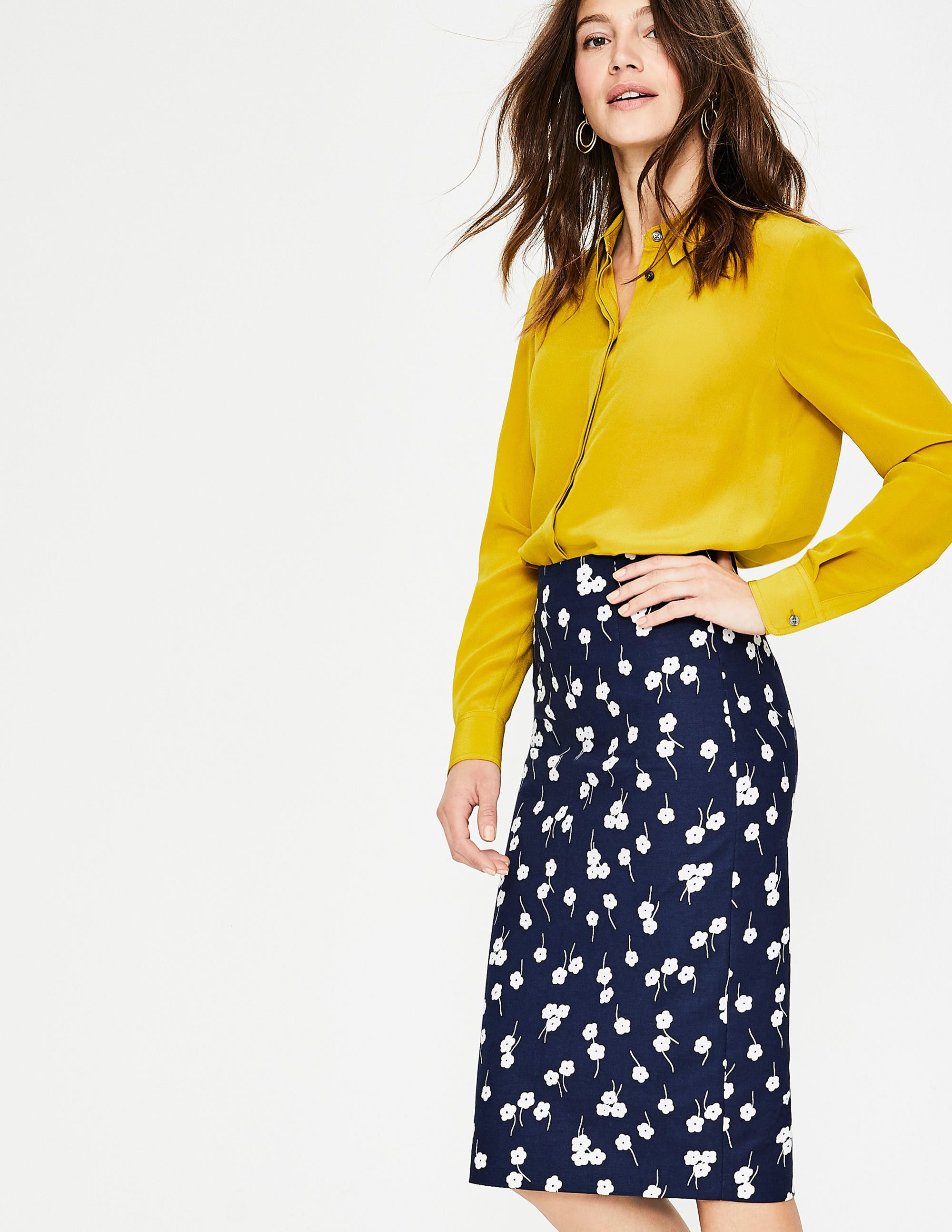 Boden Richmond Pencil Skirt - Navy, Blossom