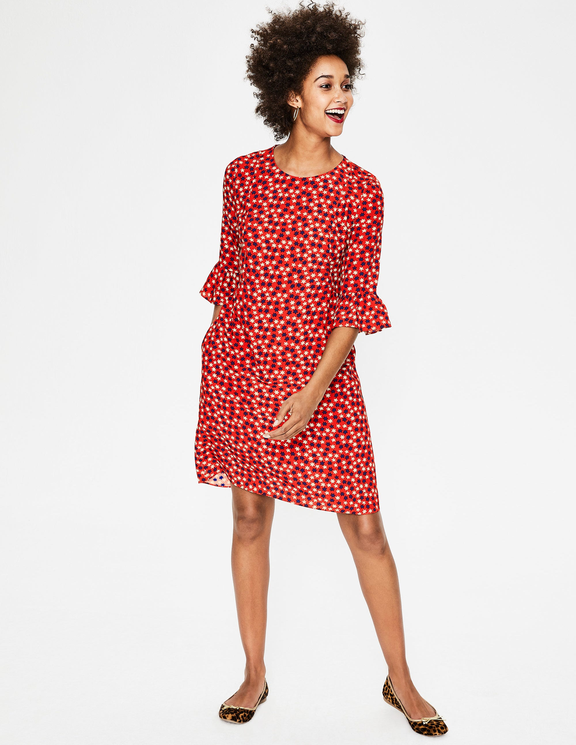 19130f23eee Hyacinth Dress - Post Box Red Scattered Stars | Boden US