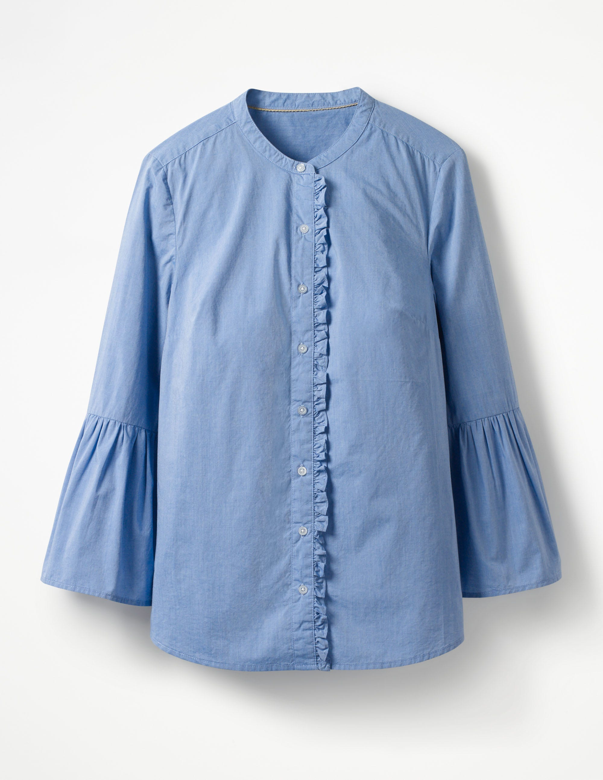 Chemise à manches cloche BLU Femme Boden, Chambray