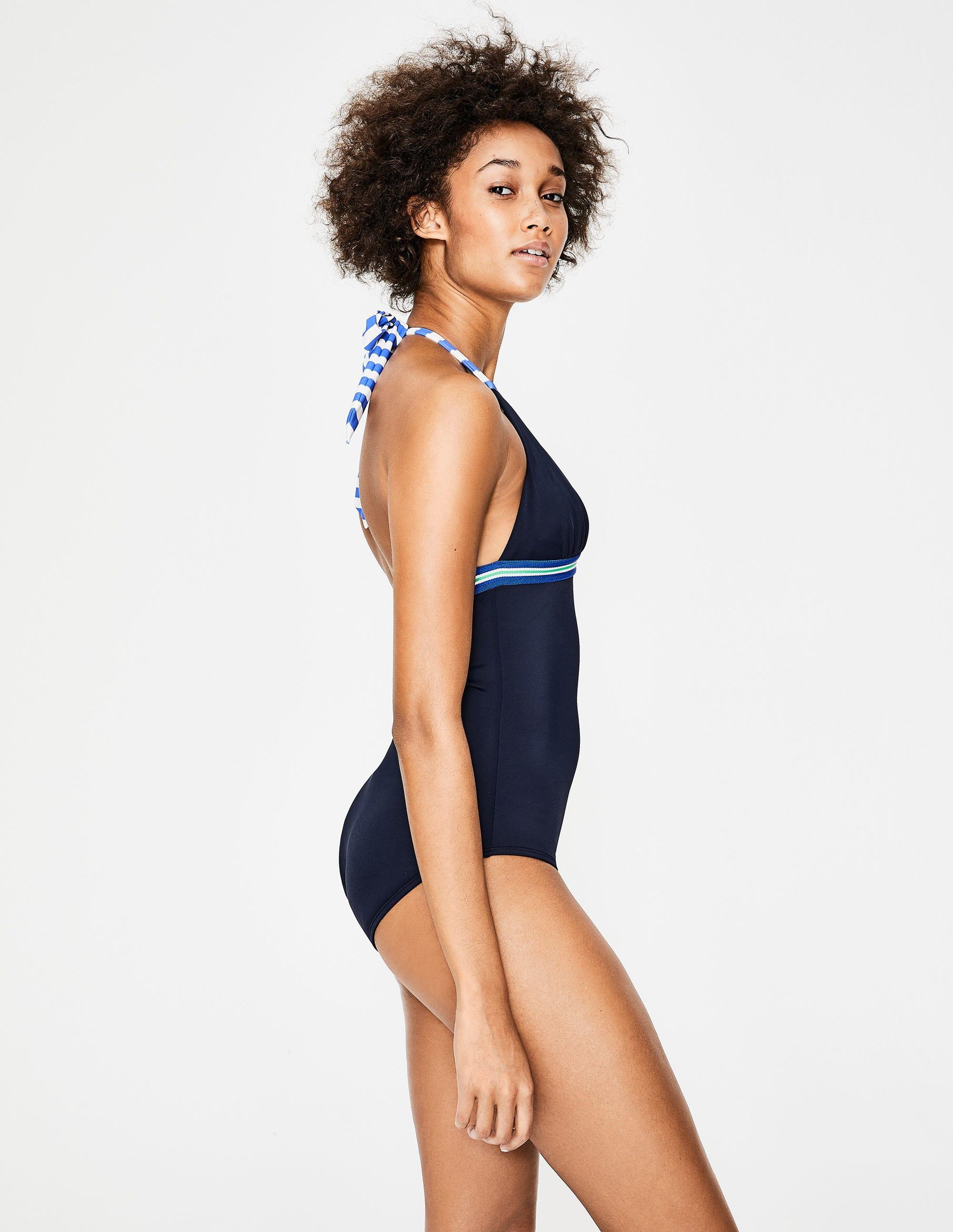 449c9c11a6 Elba Halter Swimsuit - Navy/Stripe | Boden US