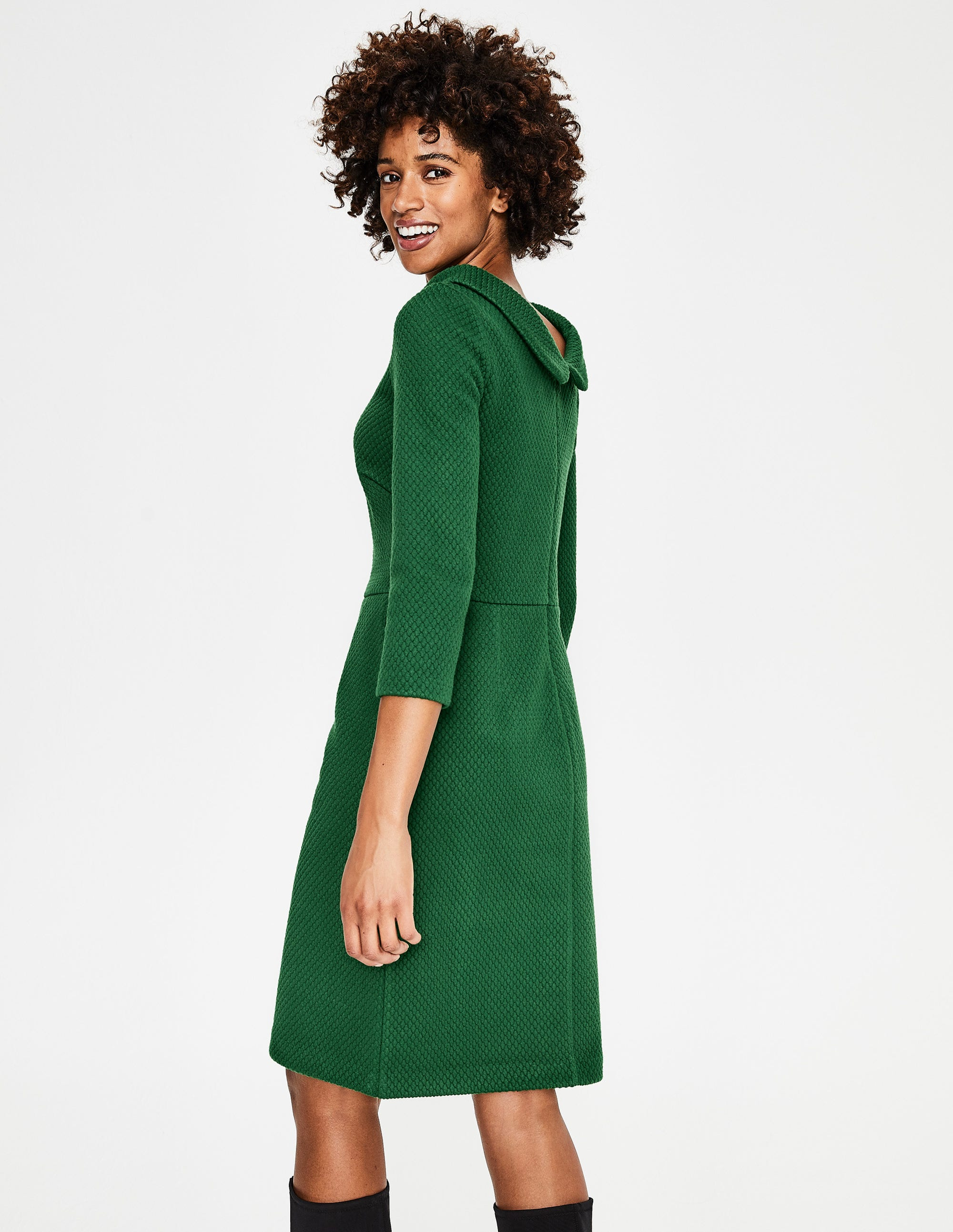 079684603ca83 Estella Jacquard Dress - Amazon Green | Boden AU