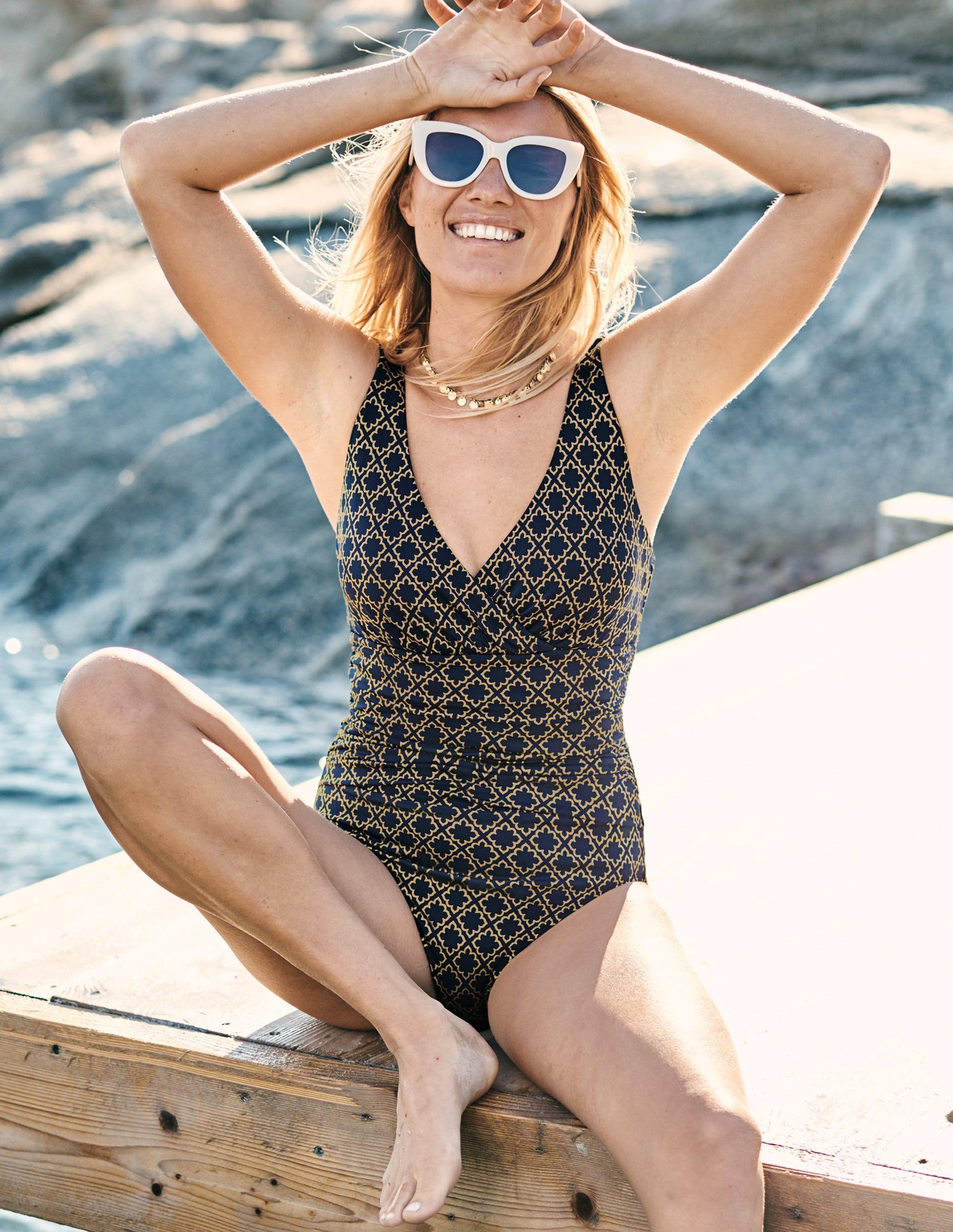 Boden Talamanca Swimsuit - Navy/Gold Tile