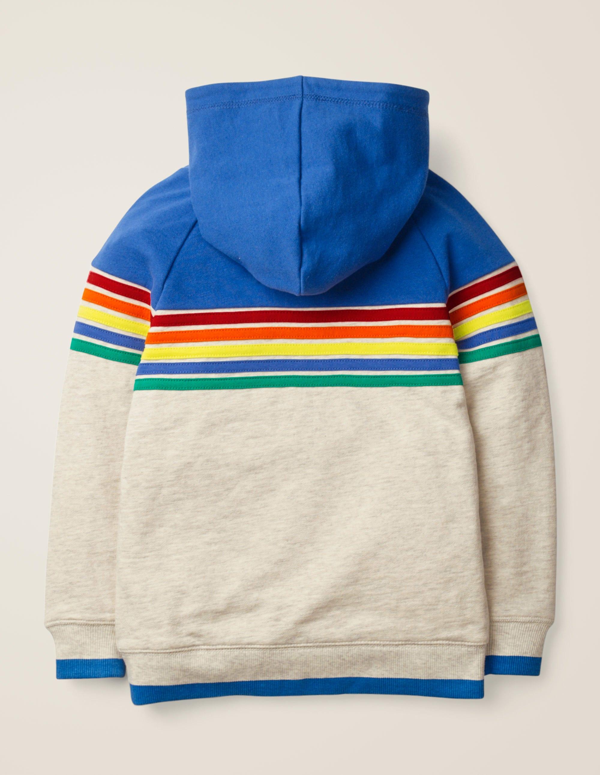 Rainbow Stripe Hoodie Oatmeal Marl Rainbow | Boden US