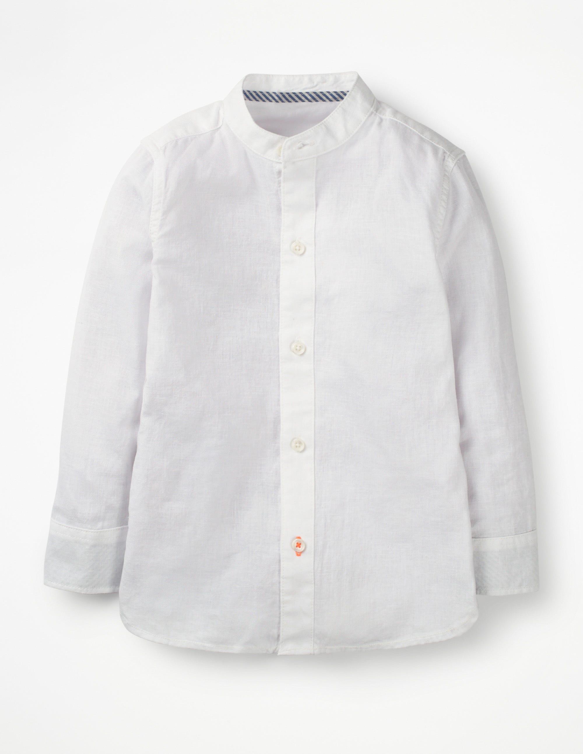 Chemise à col grand-père WHT Garçon Boden, White