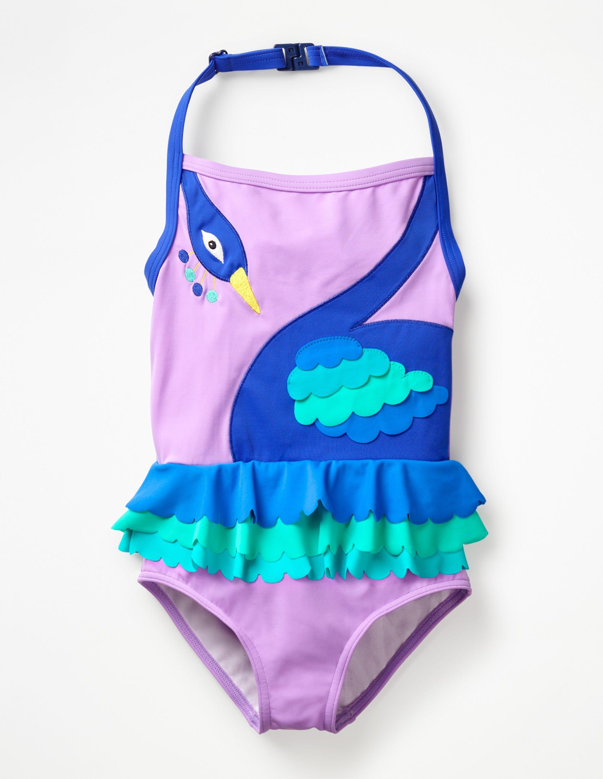 50e68e0b08d5b Halterneck Appliqué Swimsuit - Deep Sea Blue Cherries   Boden US