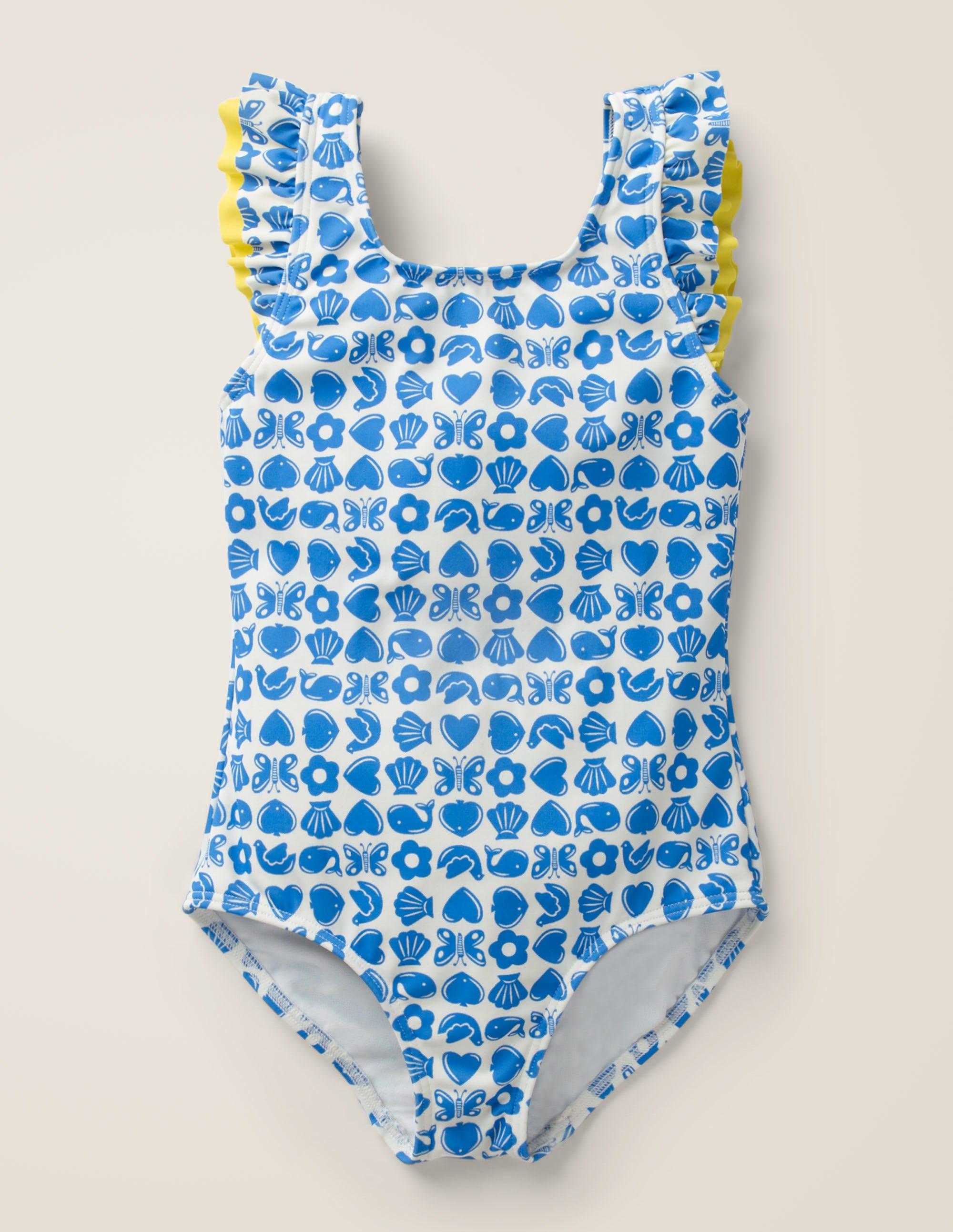 Maillot de bain avec volants sur l'épaule BLU Fille Boden, Blue