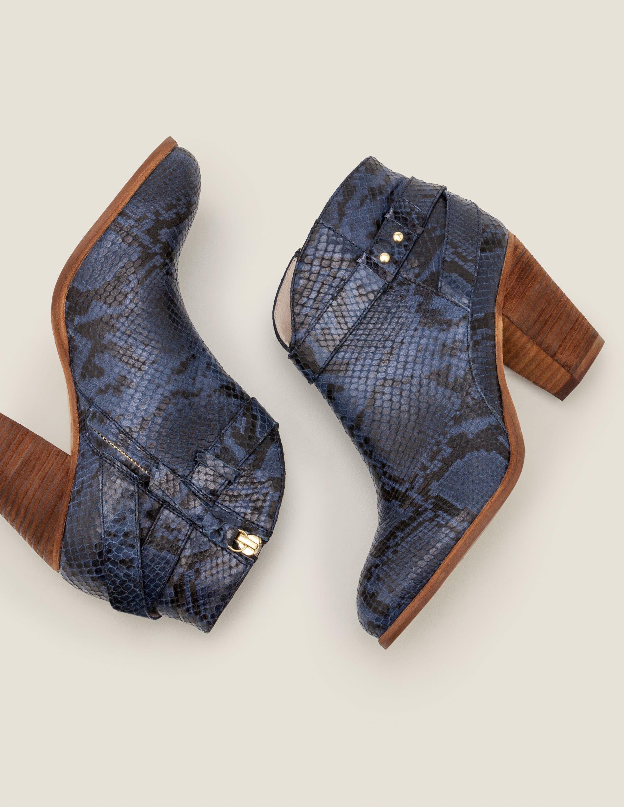 Boden Stratford Ankle Boots - Navy Snake