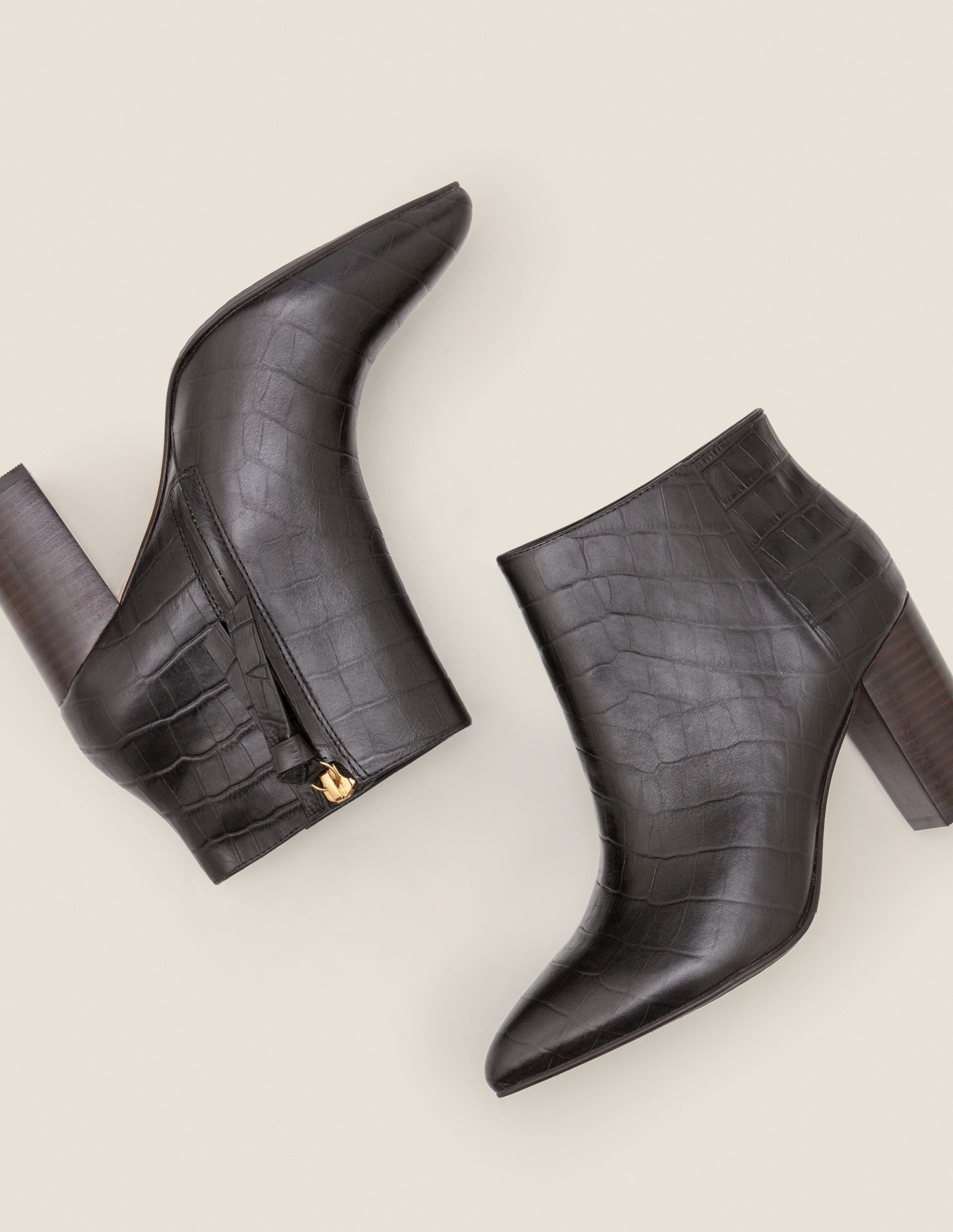 croc black ankle boots