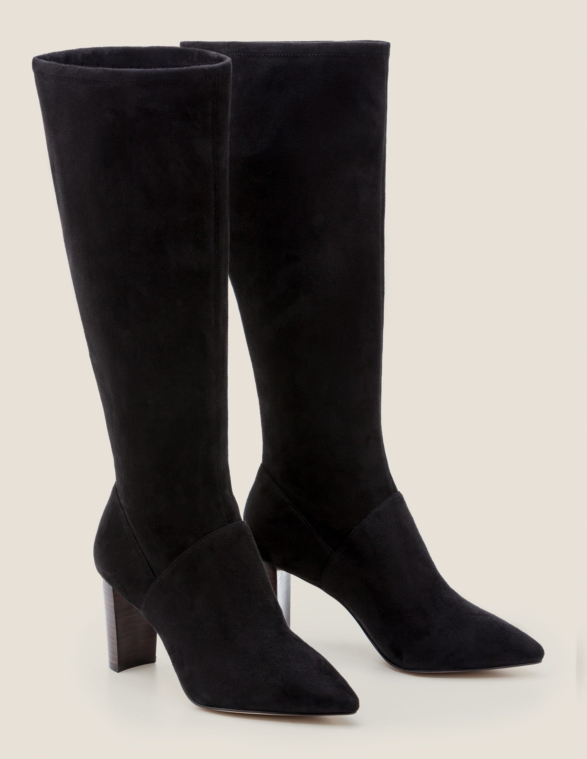 Pointed Toe Stretch Boots - Black