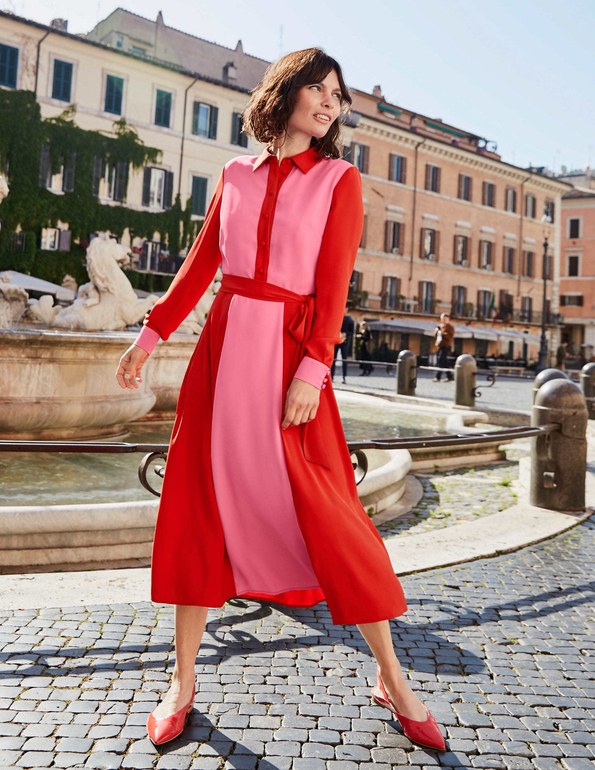 Boden Betty Midi Shirt Dress - Crayon Pink/ Post Box Red