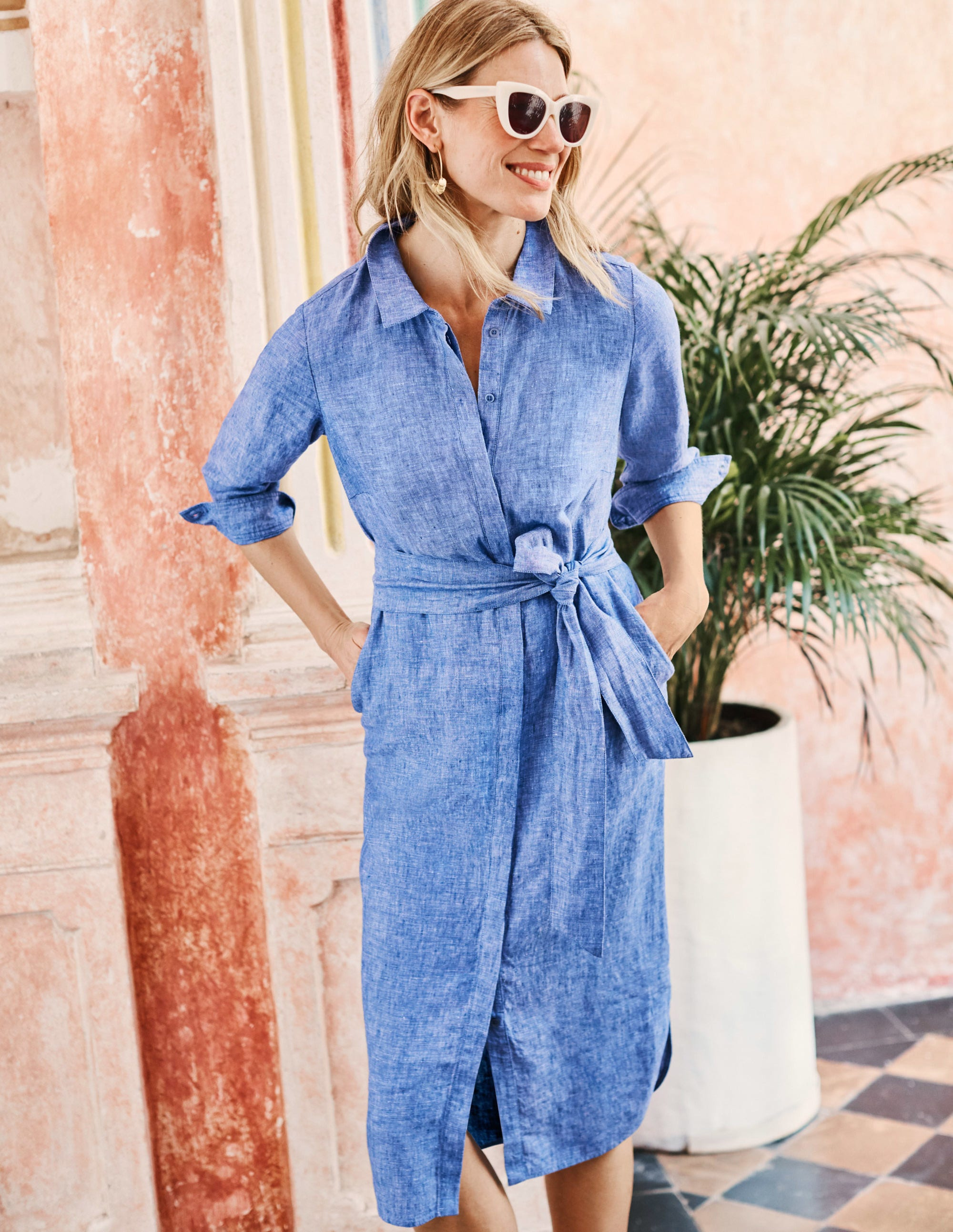 best sell huge selection of modern and elegant in fashion Freya Linen Shirt Dress - Chambray