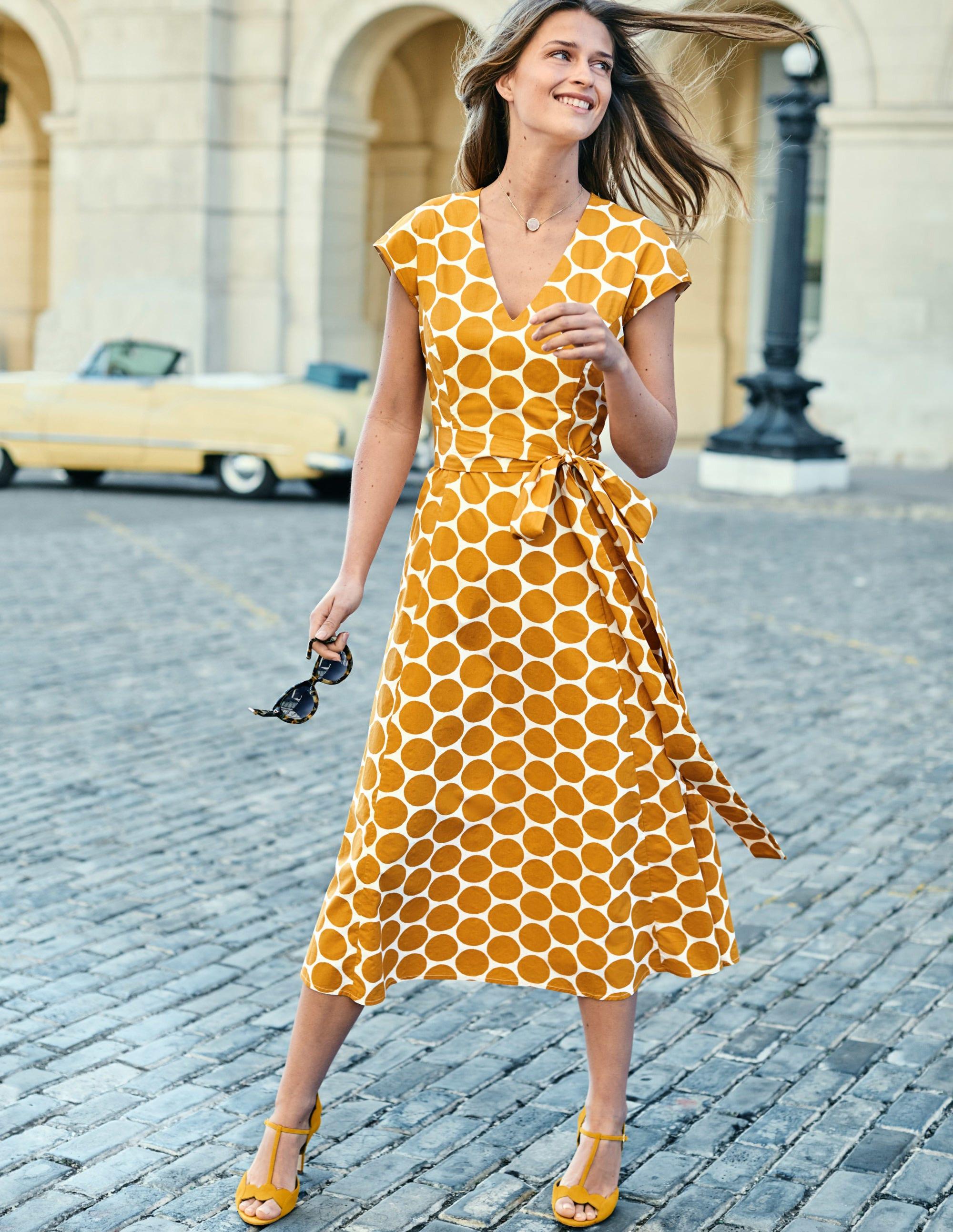 Boden Tori Midi Dress - Ivory & Yellow Brand Spot