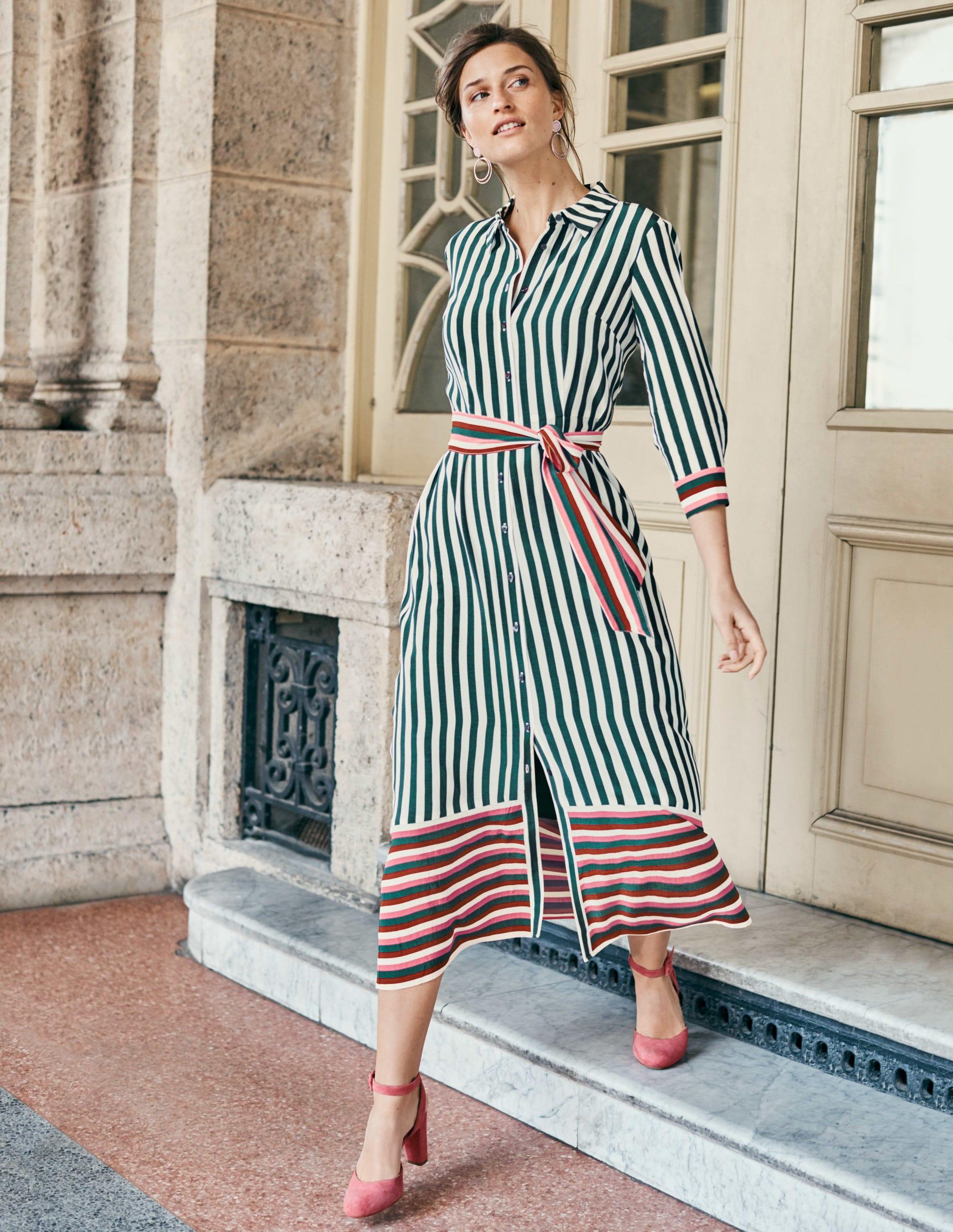 c9e200d6934 Mallory Midi Shirt Dress - Woodland Green Stripe