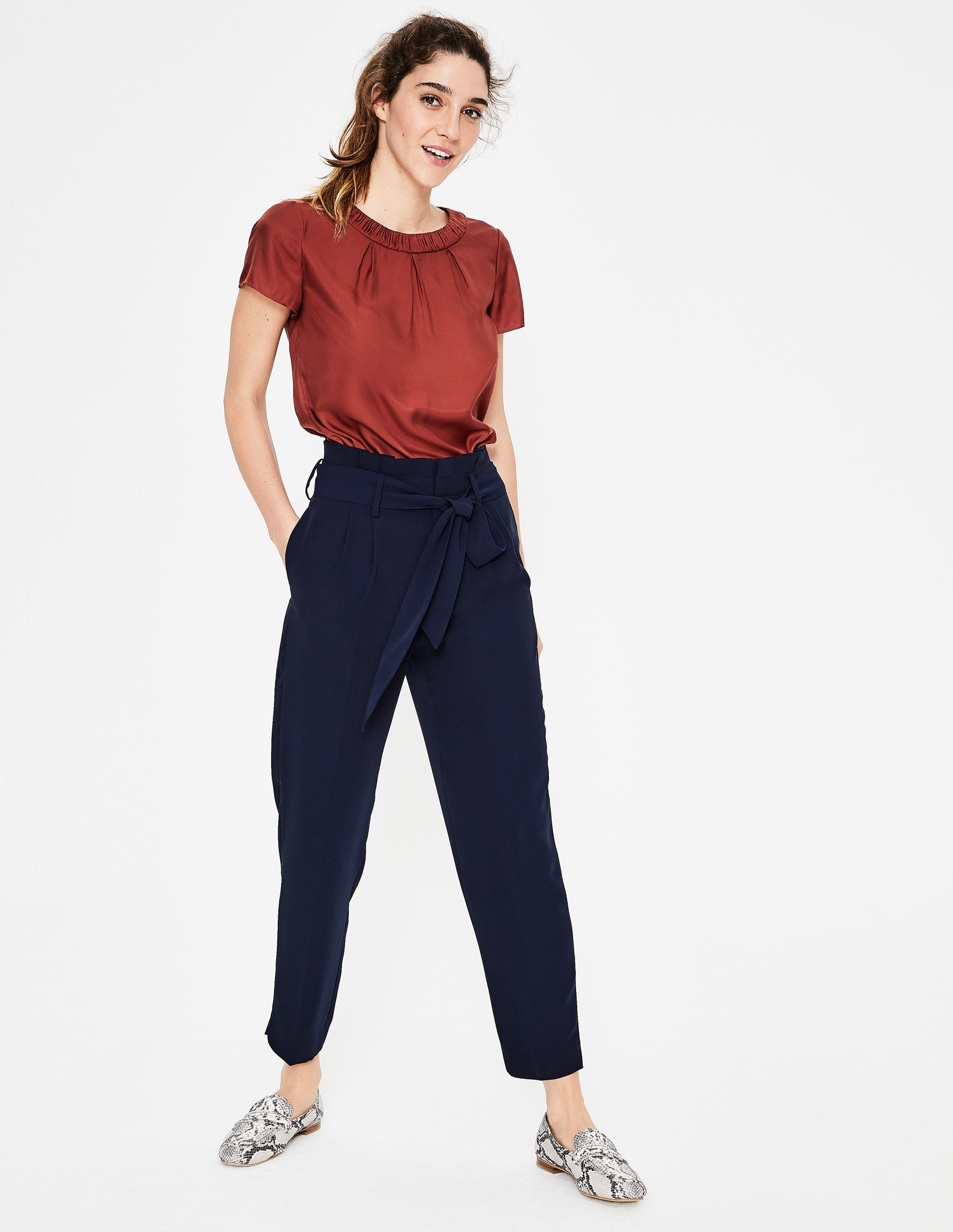 Boden Melina Paperbag Pants - Navy