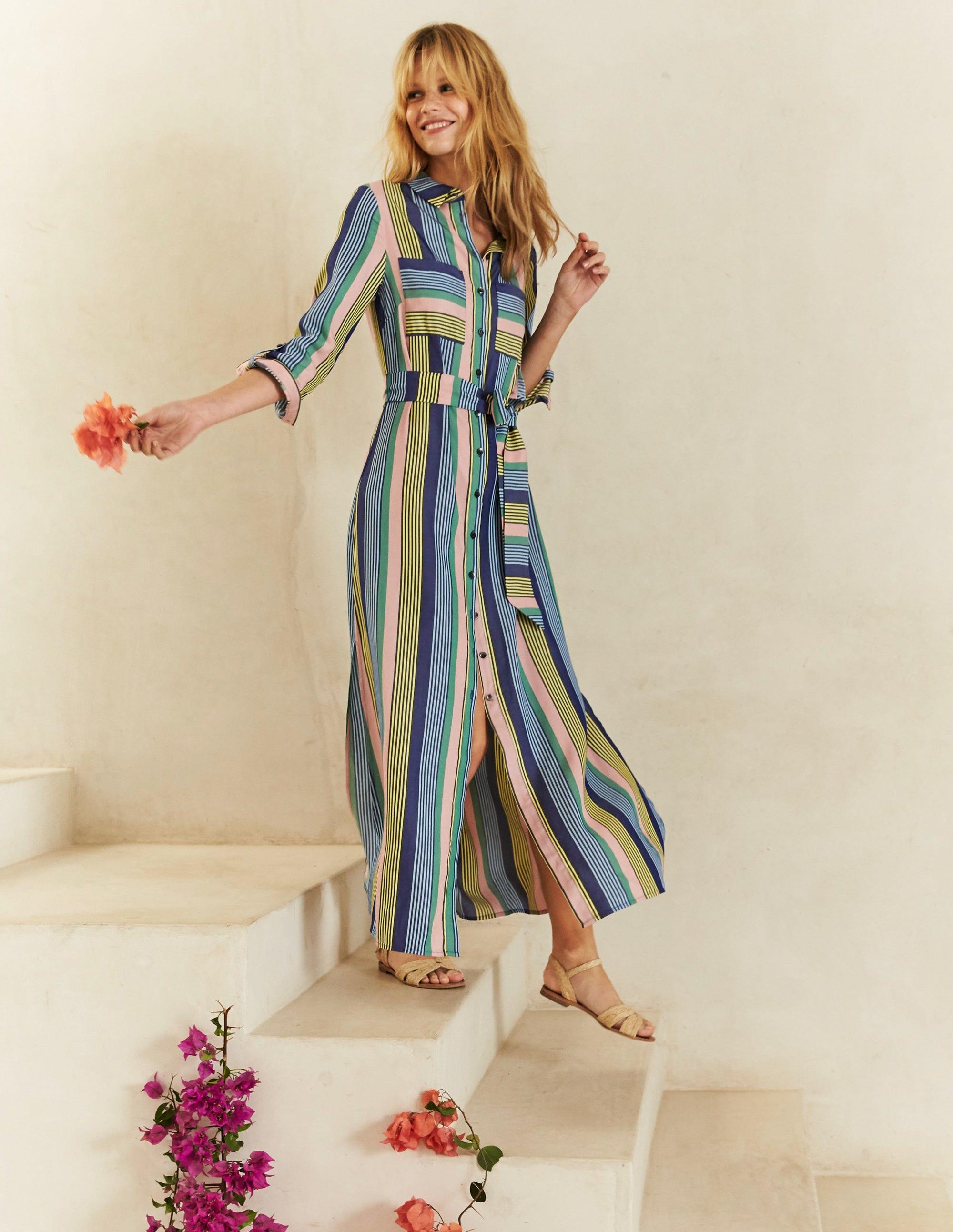 Ongebruikt Katrina Maxi Shirt Dress - Multi Stripe | Boden US MT-09