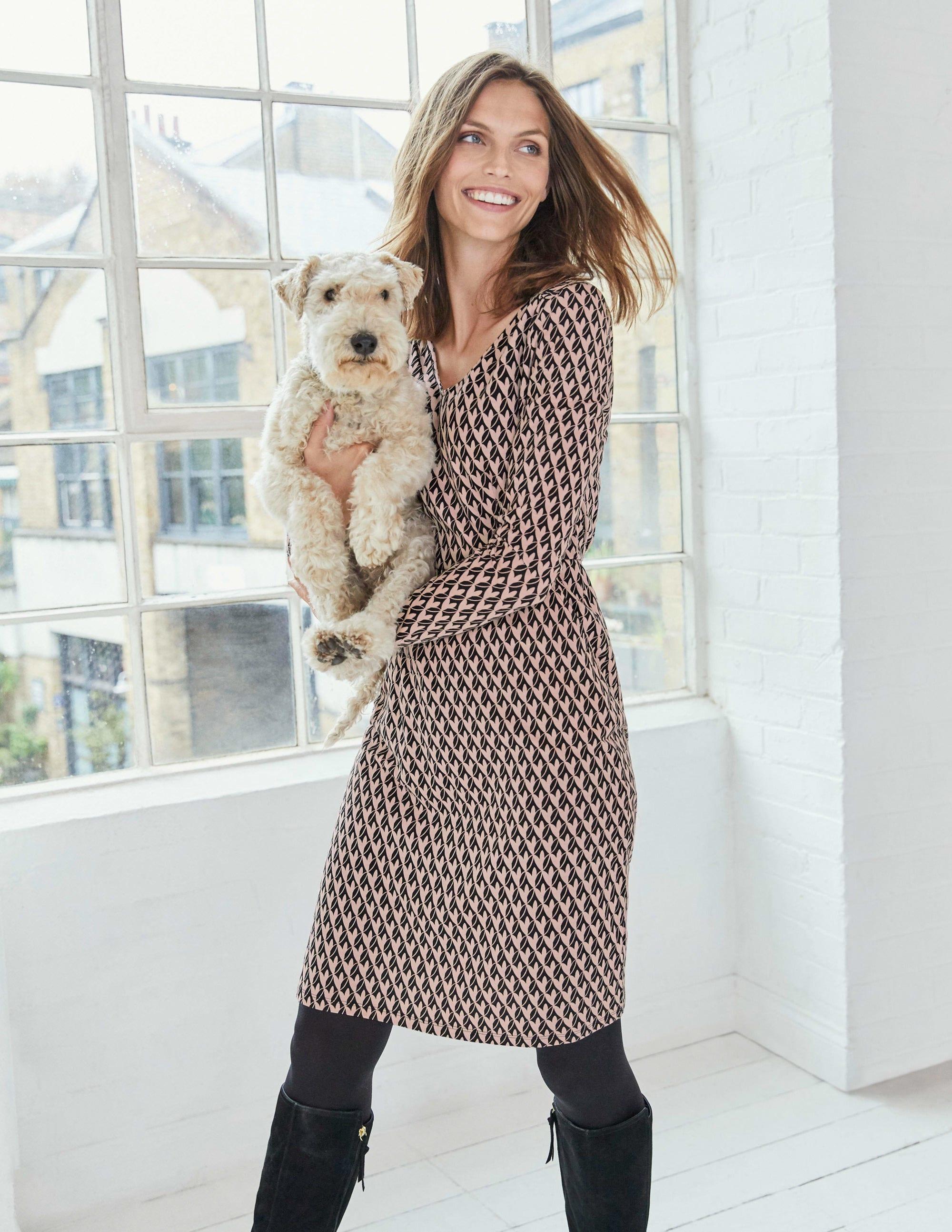 Boden Romilly Jersey Dress - Milkshake, Leafy Geo