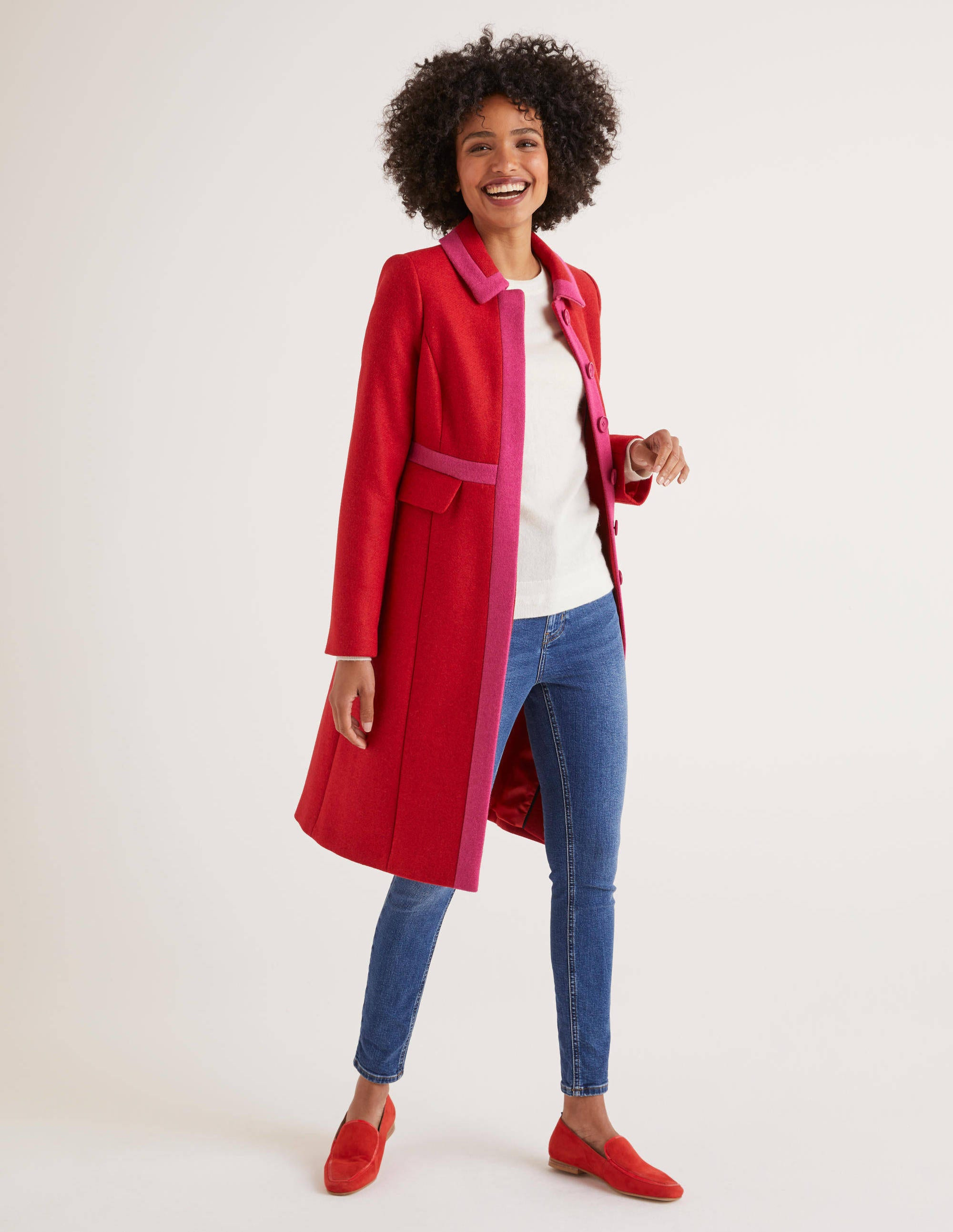 Manteau Mitford RED Femme Boden, Red