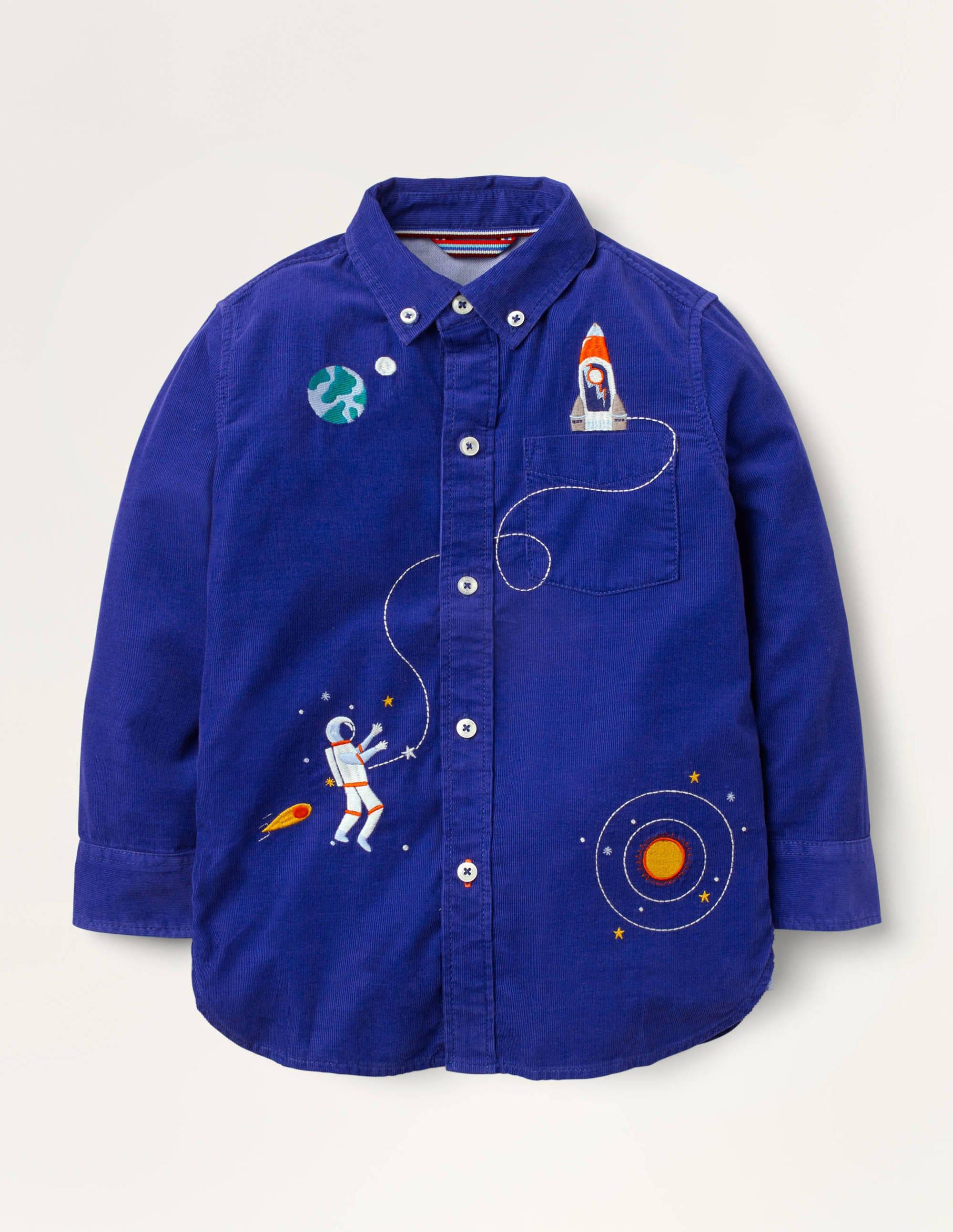 Chemise à motif spatial brodé en velours côtelé BLU Garçon Boden, Blue