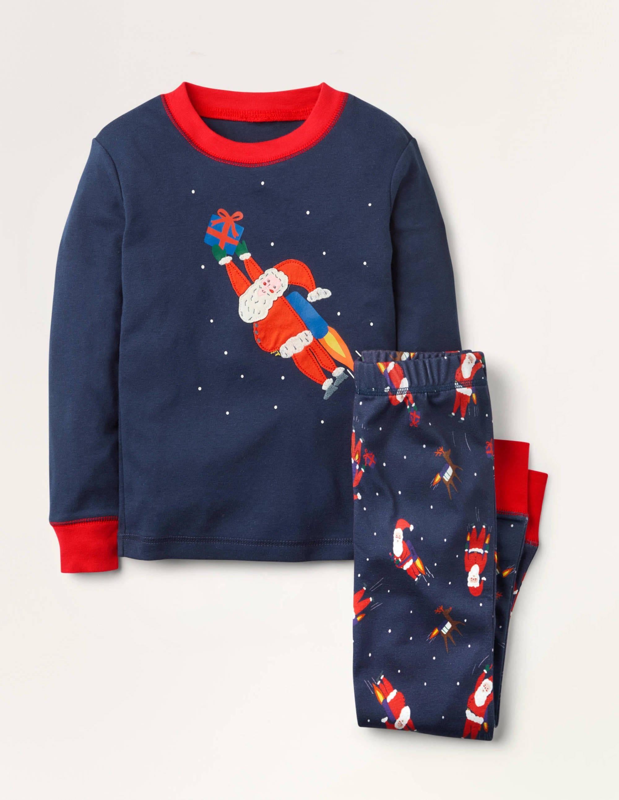 Boden Cosy Applique Long Pajamas - College Navy Jet Pack Santa