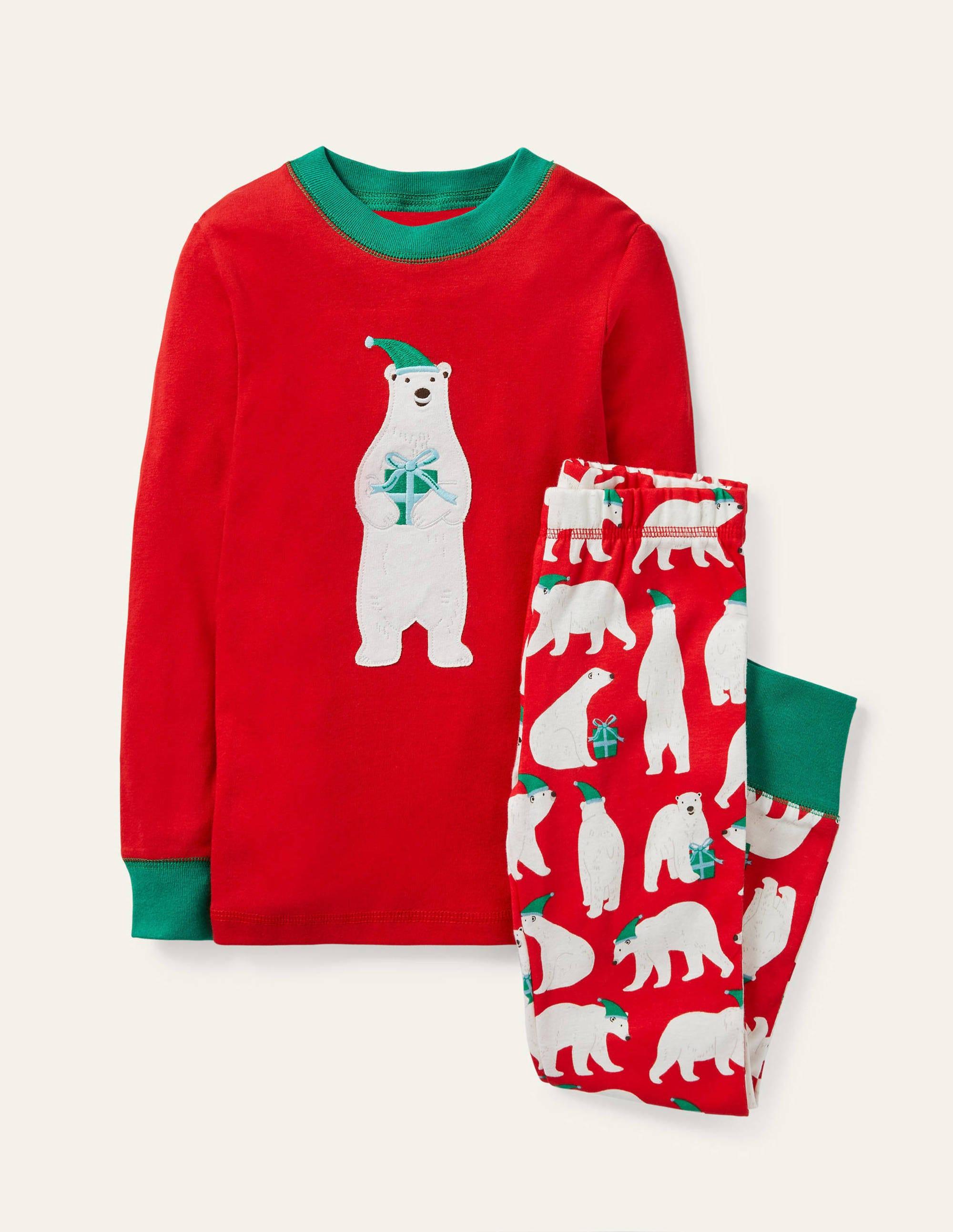 Boden Cosy Applique Long Pajamas - Hot Pepper Red Polar Bear