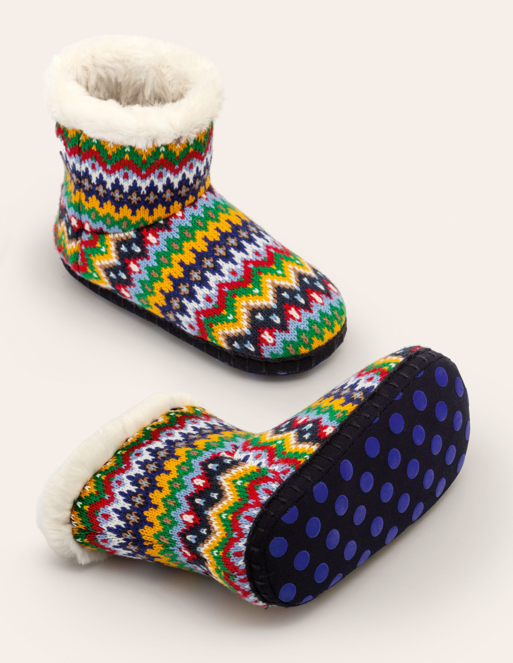 Knitted Slipper Boots - College Navy