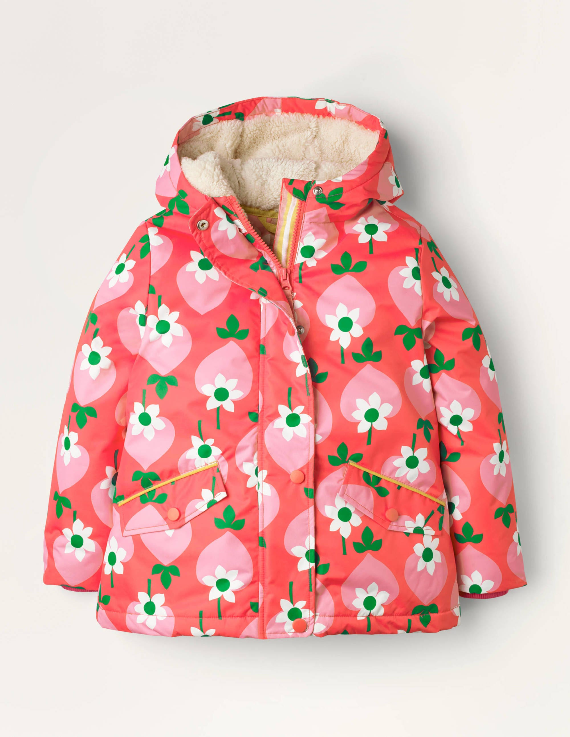 Anorak à doublure sherpa RED Fille Boden, Red