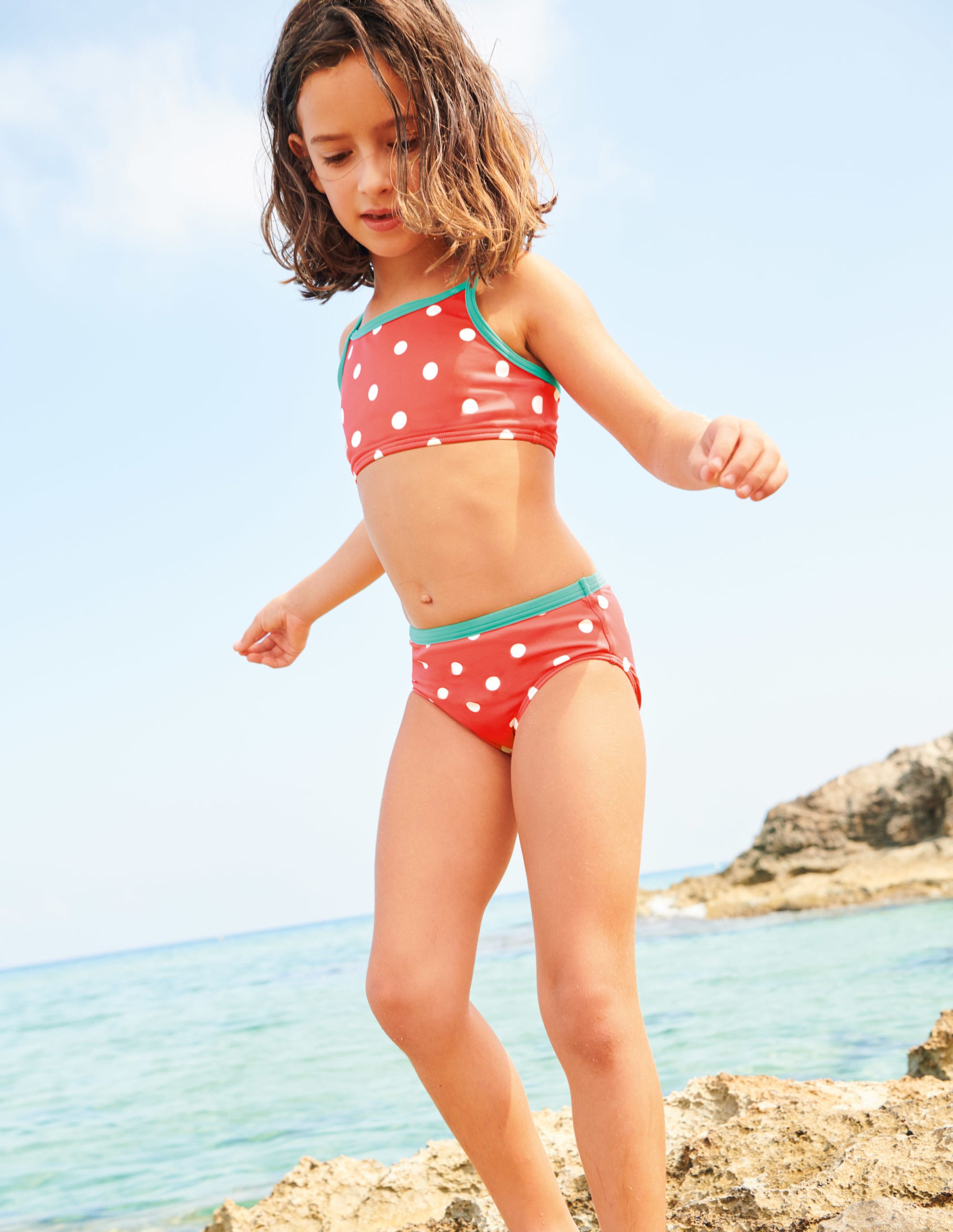 Boden Patterned Bikini Top - Sunset Red/Ivory Spot