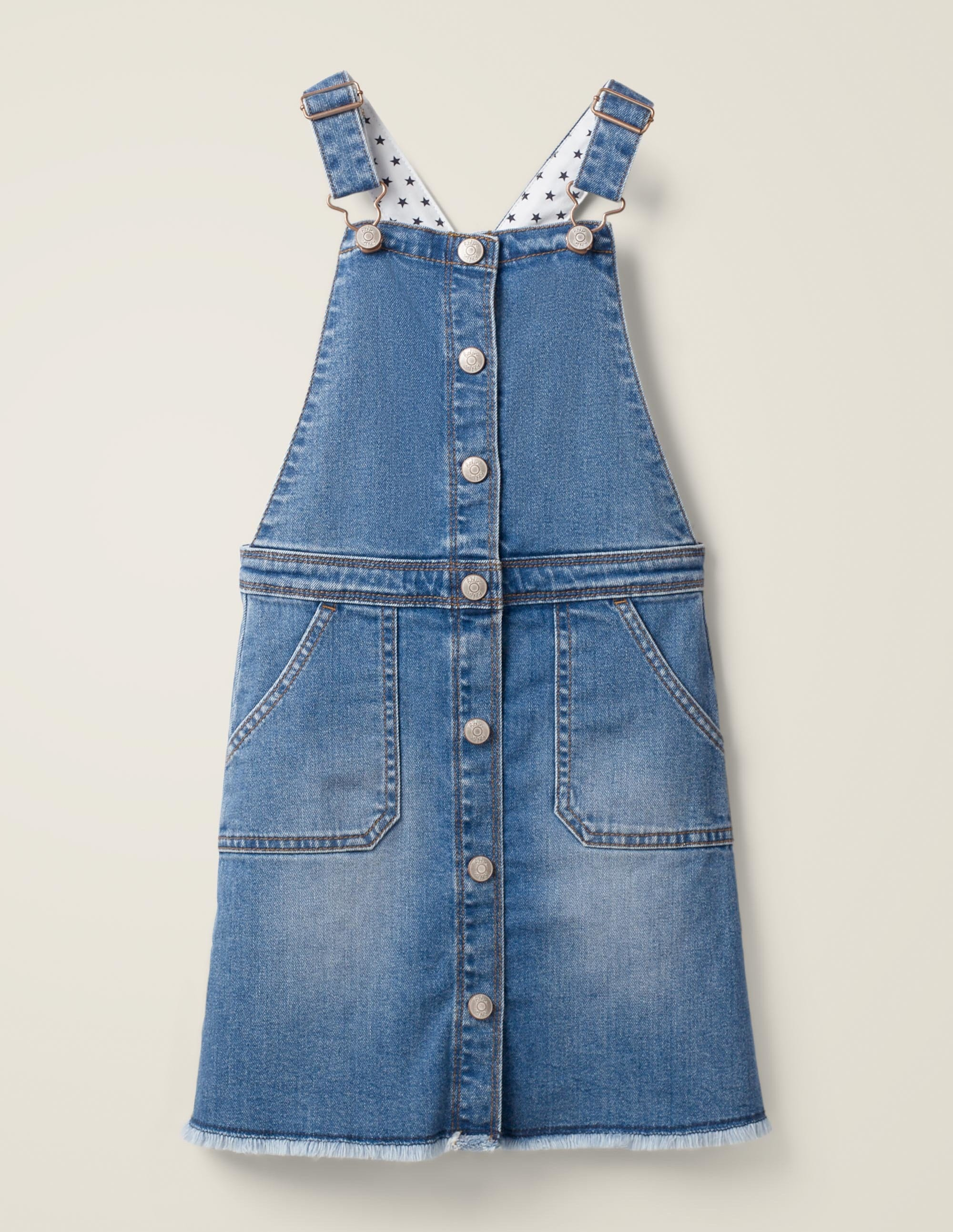 Boden Button Through Overall Dress - Mid Vintage Denim