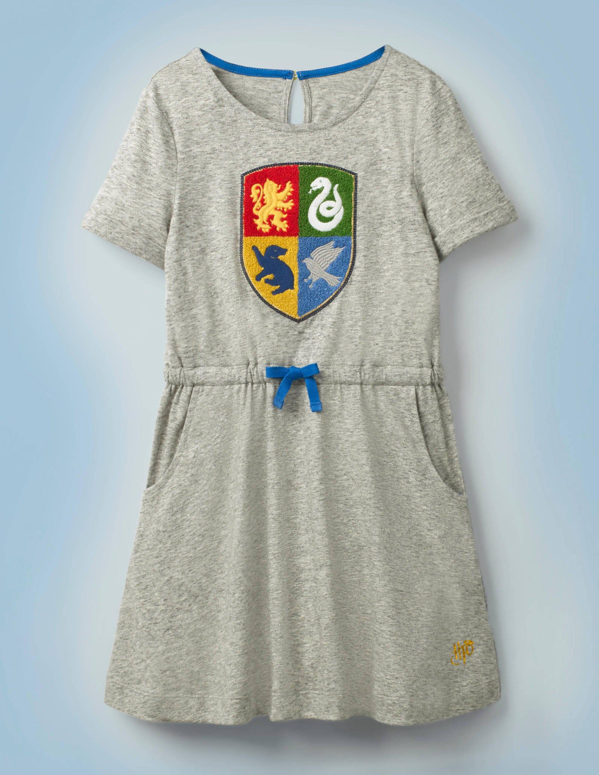 Boden Hogwarts Crest Dress - Mid Grey Jaspe Marl