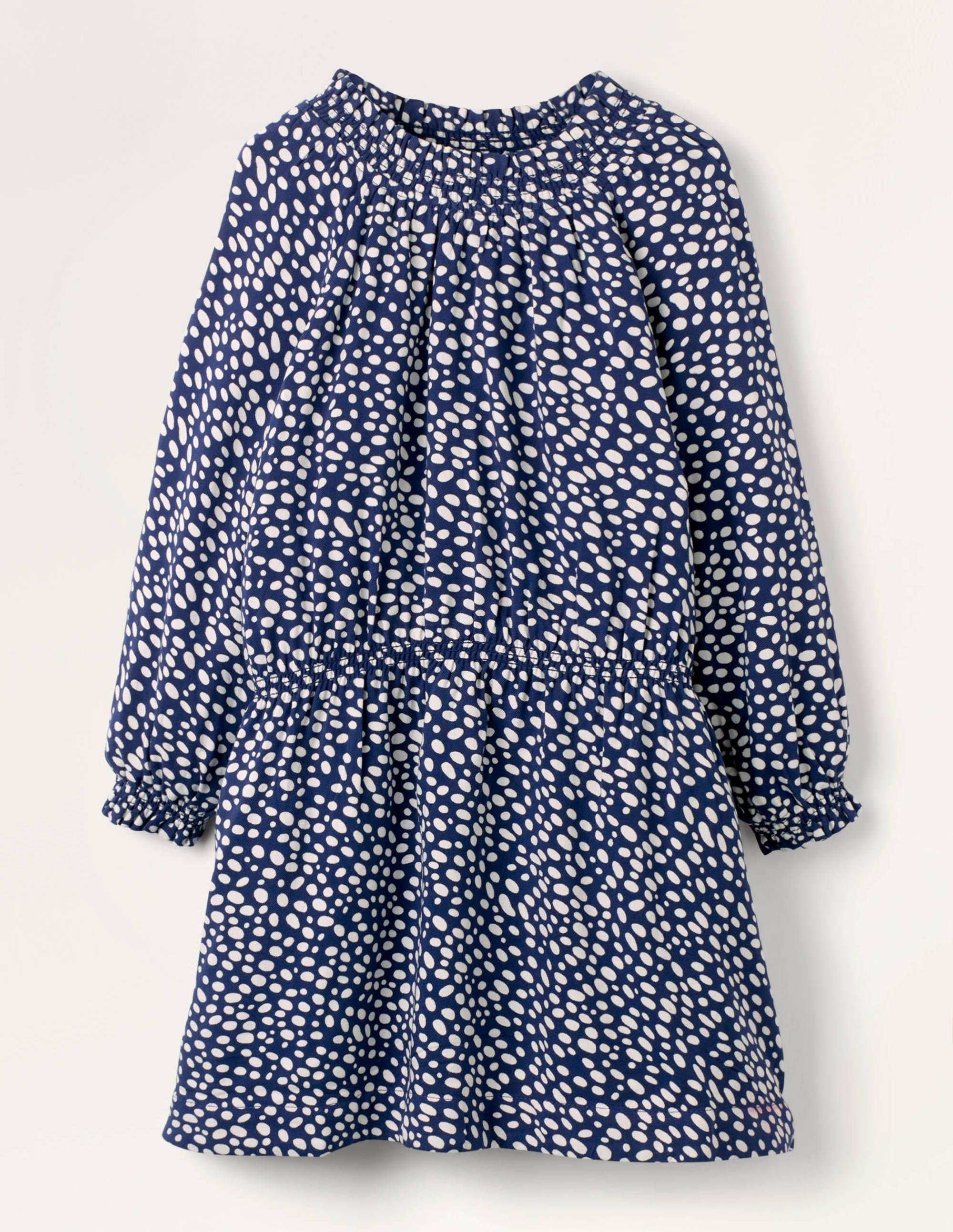 Boden Smocked Spot Woven Dress - Navy/Ivory Dalmatian Spot