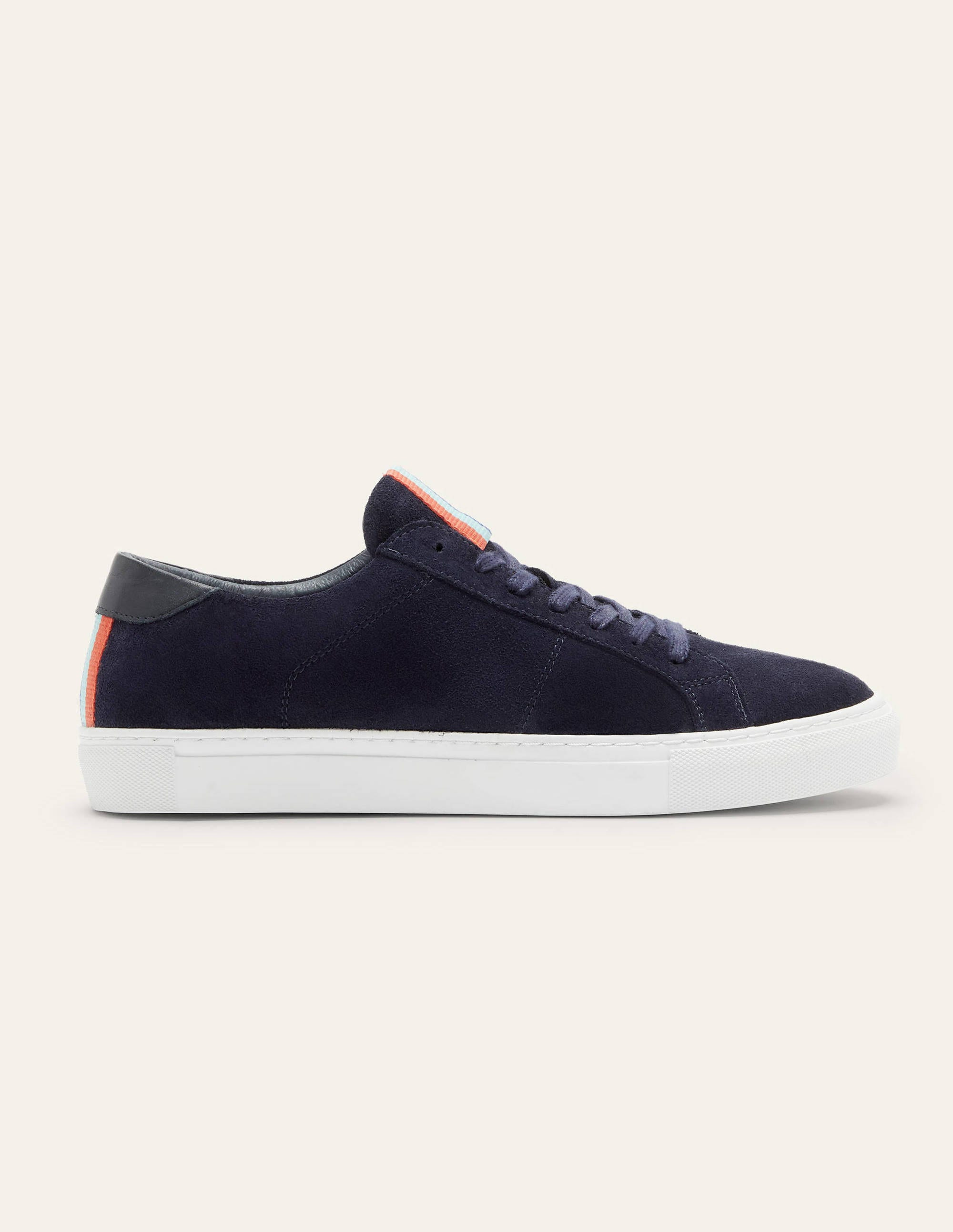 Leather Trainers - Navy Suede   Boden US