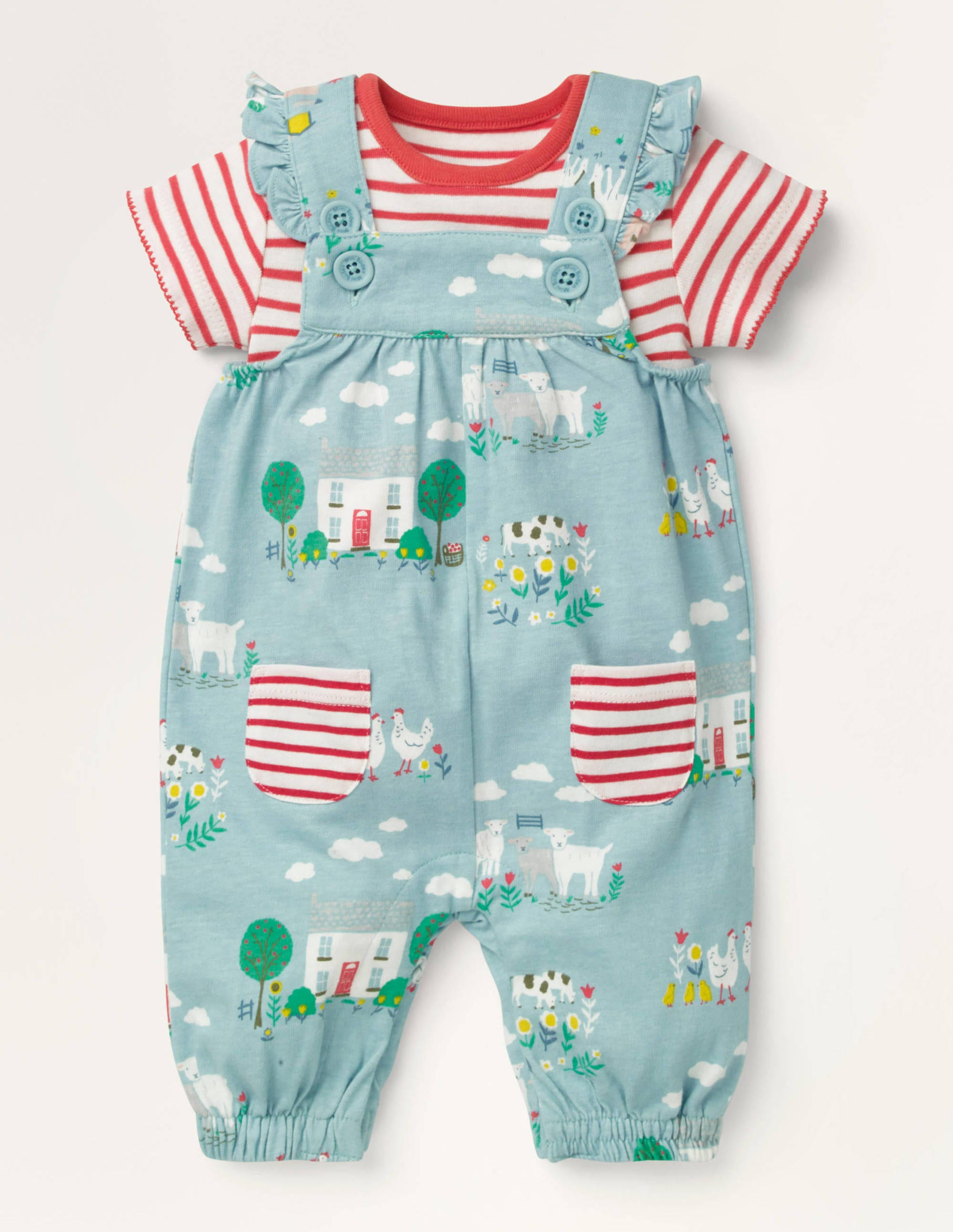 Boden Jersey Dungaree Set - Baby Blue Farmhouse
