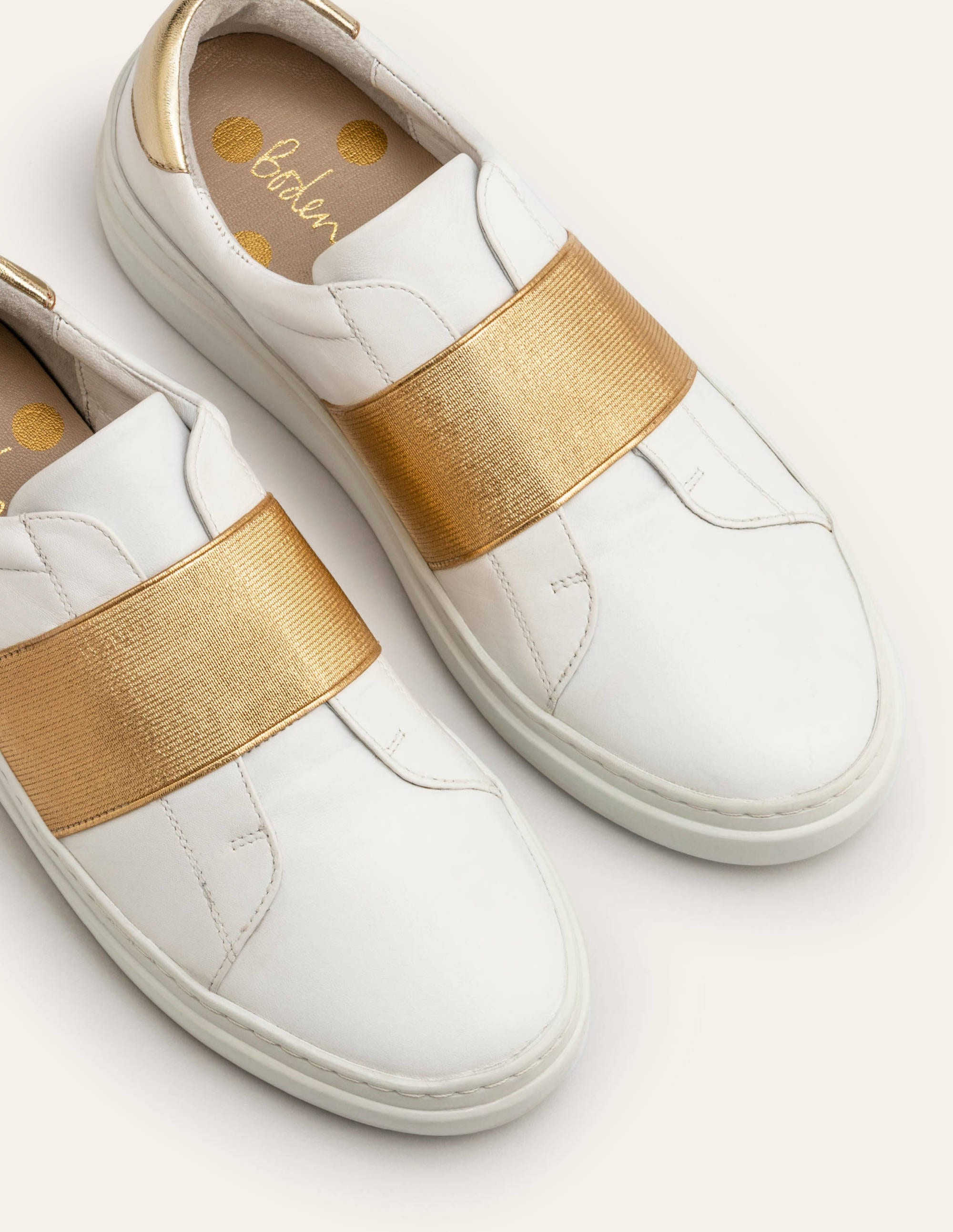 Isabel Trainers - White/Gold Metallic
