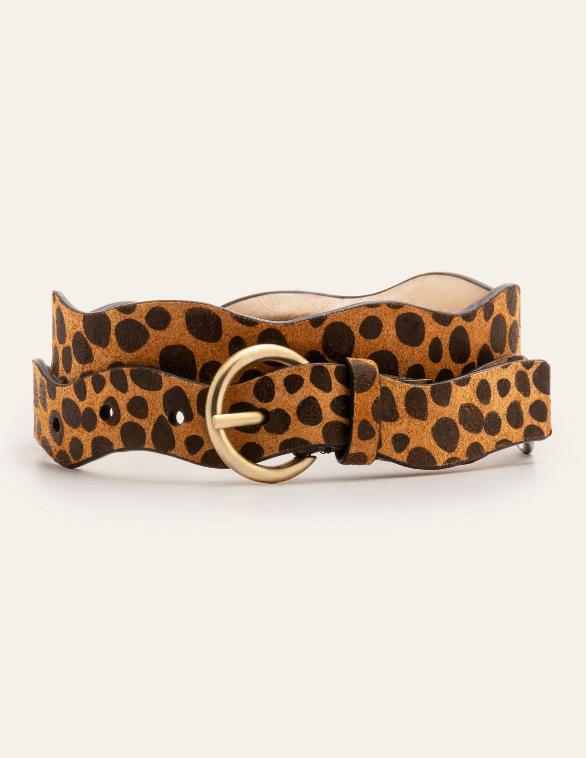 Boden Wavy Edge Belt - Natural Cheetah