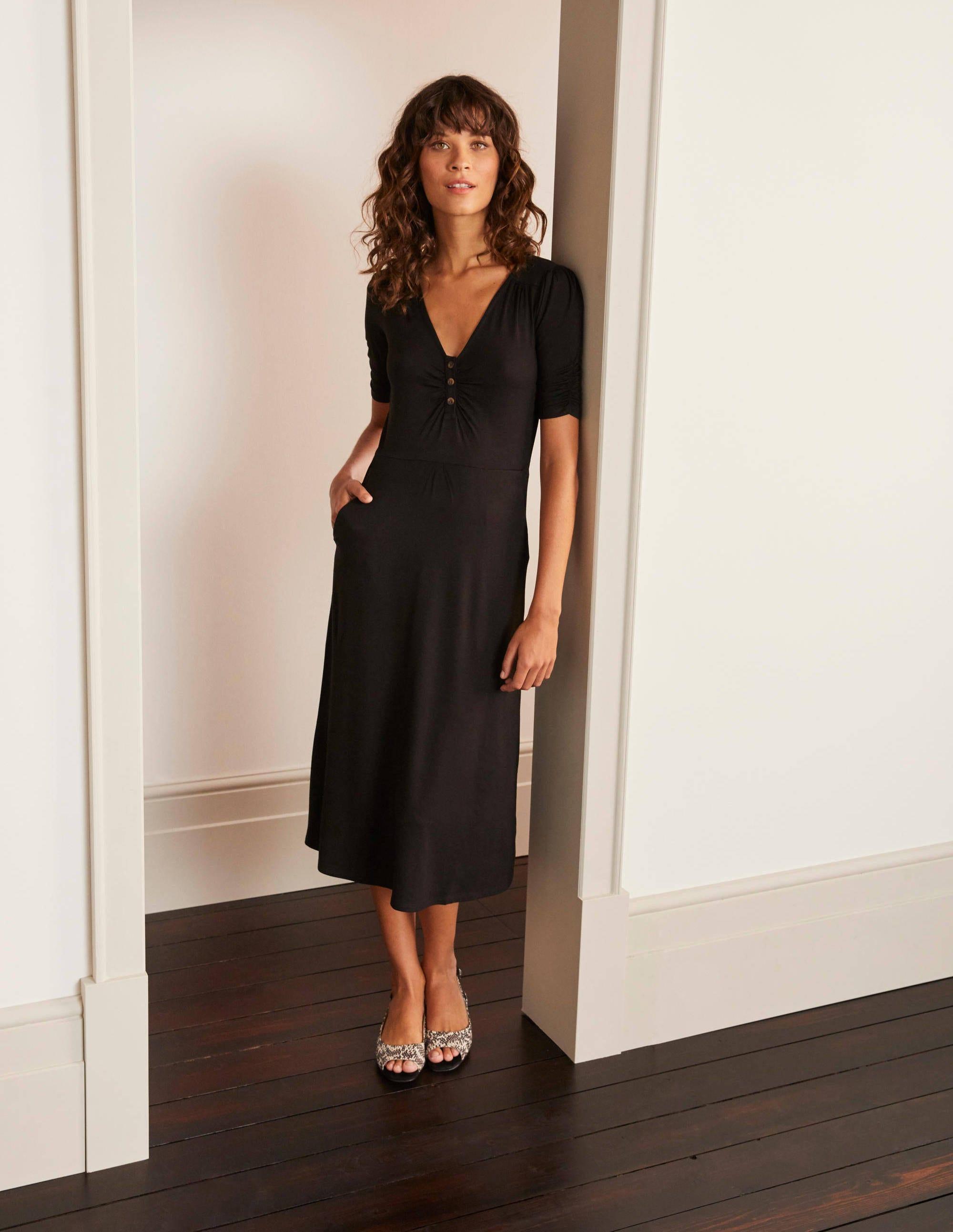 Jane Jersey Midi Dress - Black   Boden UK