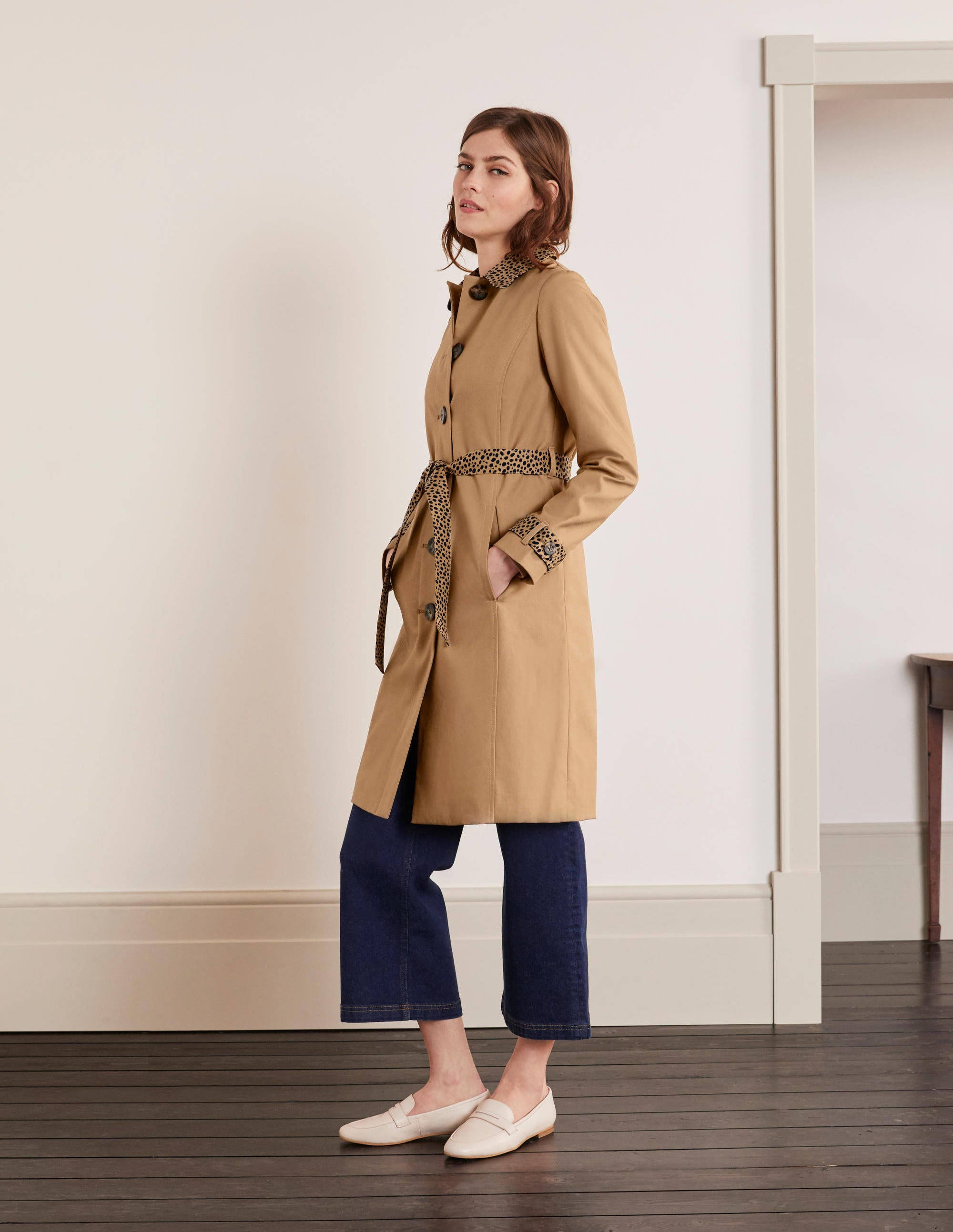 Details about Gallery Petite Trench Coat Women Size 6 Brown Lining