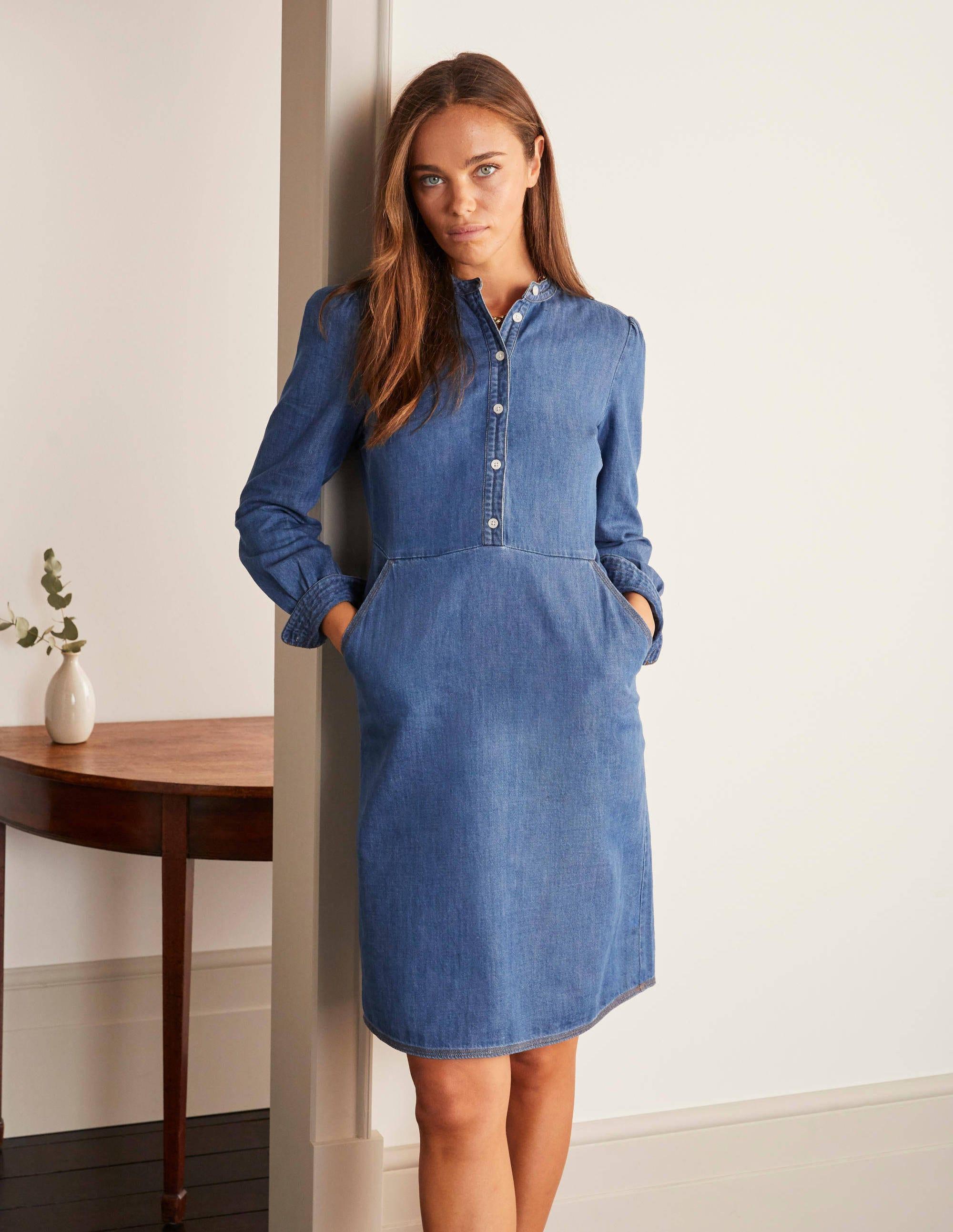 Boden Elise Vestido 18R Azul Y Rojo Floral W0102