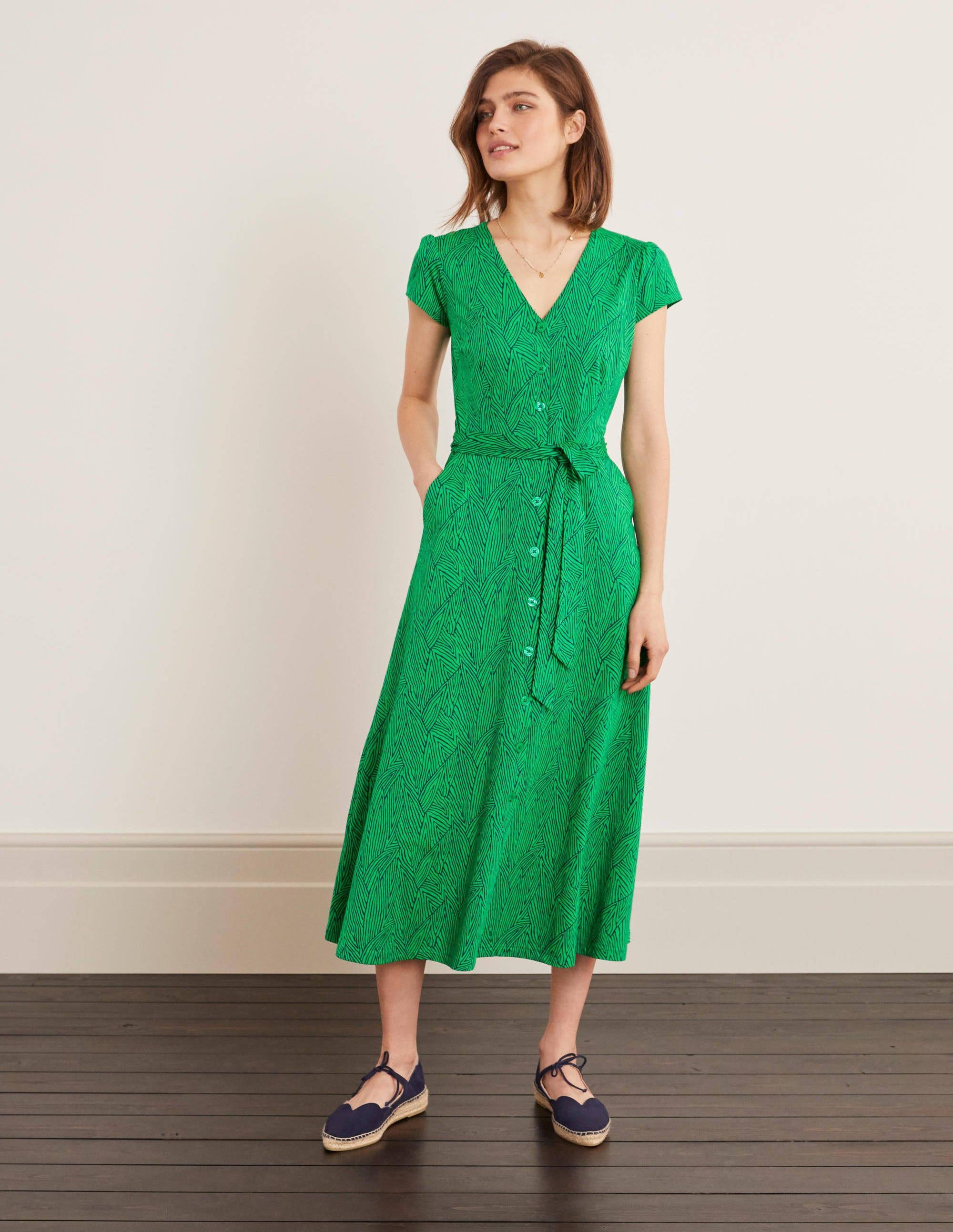 Frances Midikleid aus Jersey - Sattes Smaragdgrün, Tropenblatt