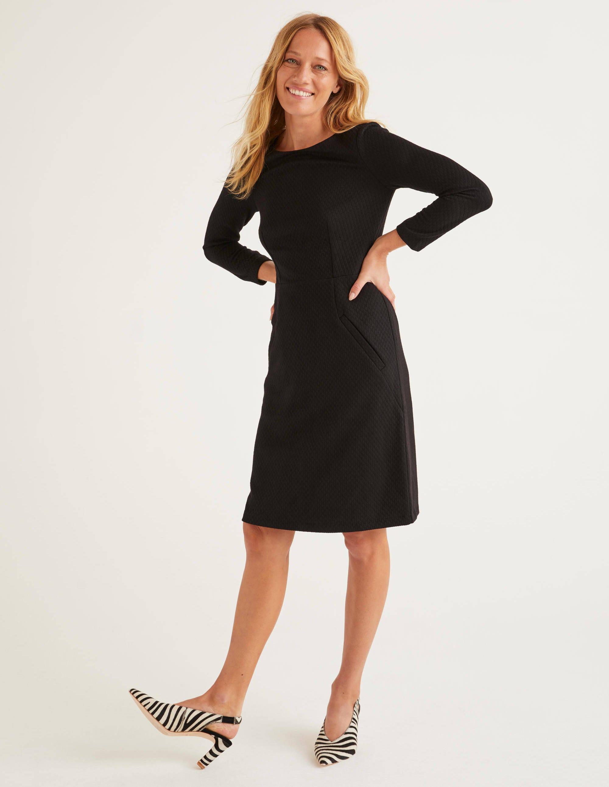 Boden Agnes Jacquard Dress - Black
