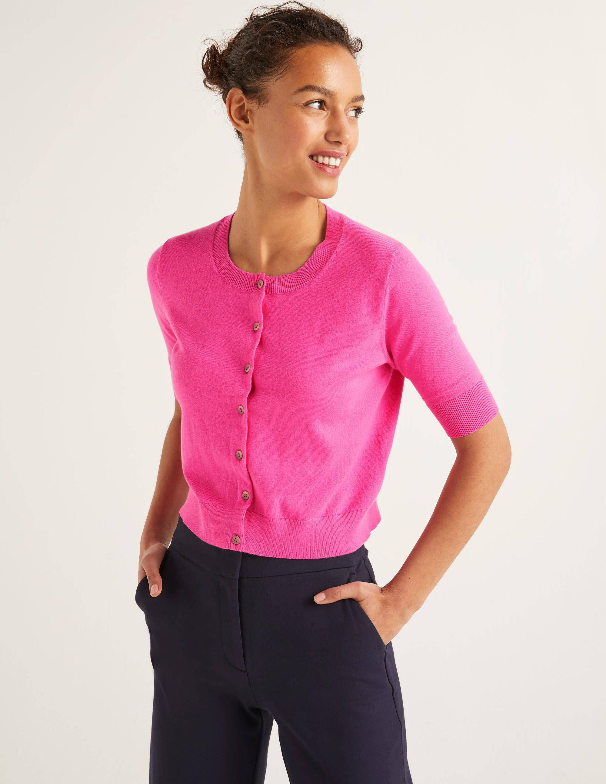Boden Favourite Crop Cardigan - Pop Pansy