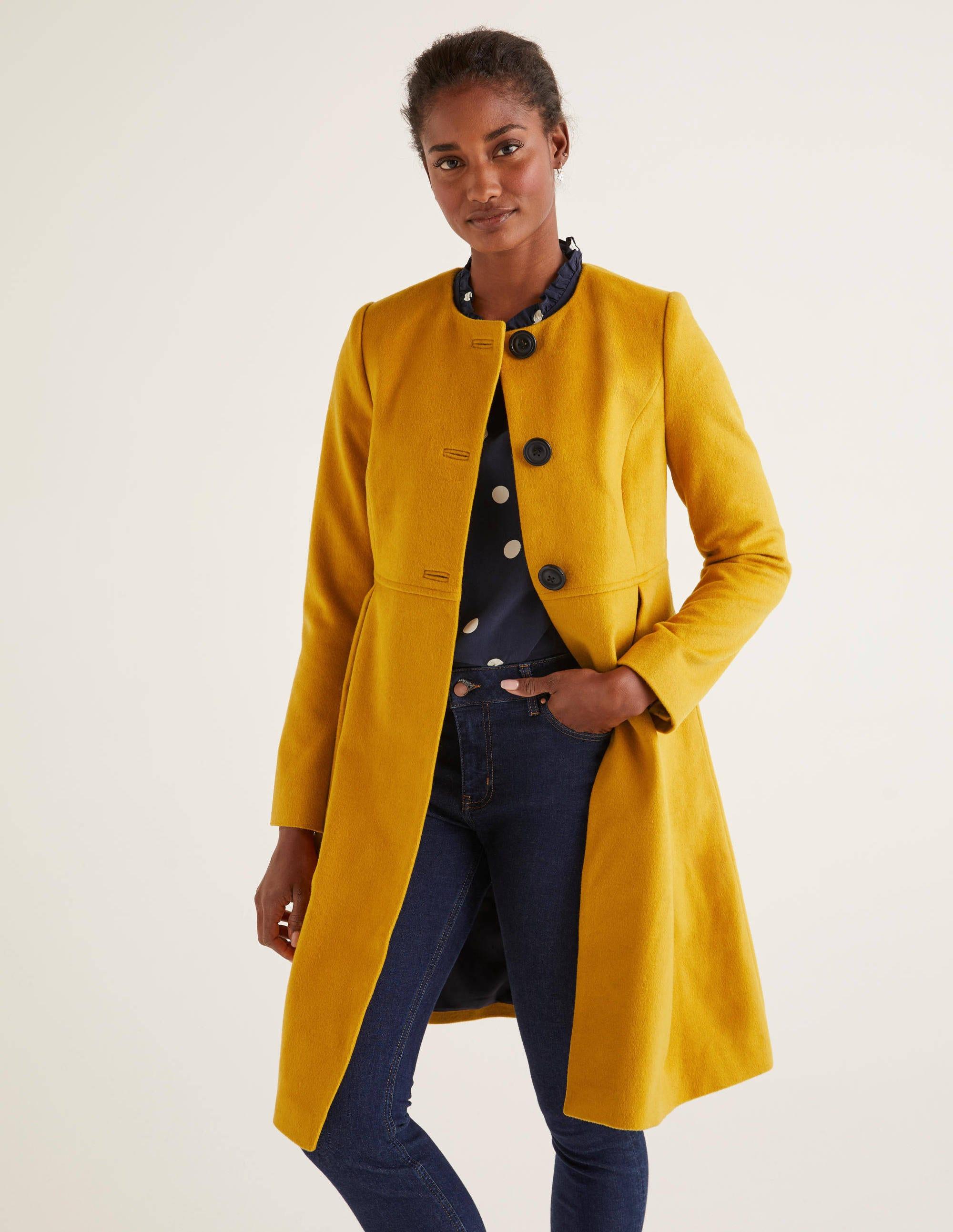 Manteau sans col Christie DYL Femme Boden, Yellow