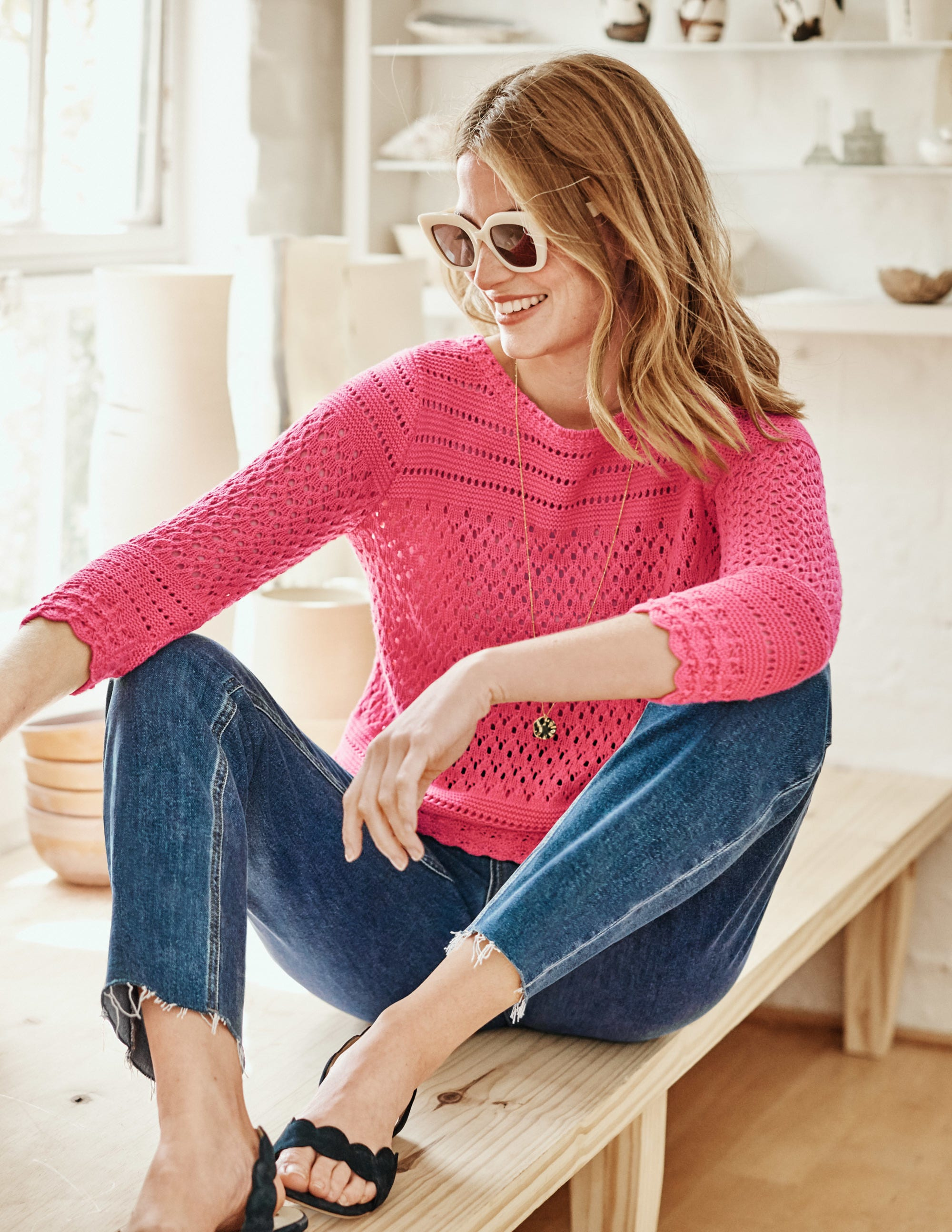 Boden Danby Pointelle Sweater - Bright Camellia