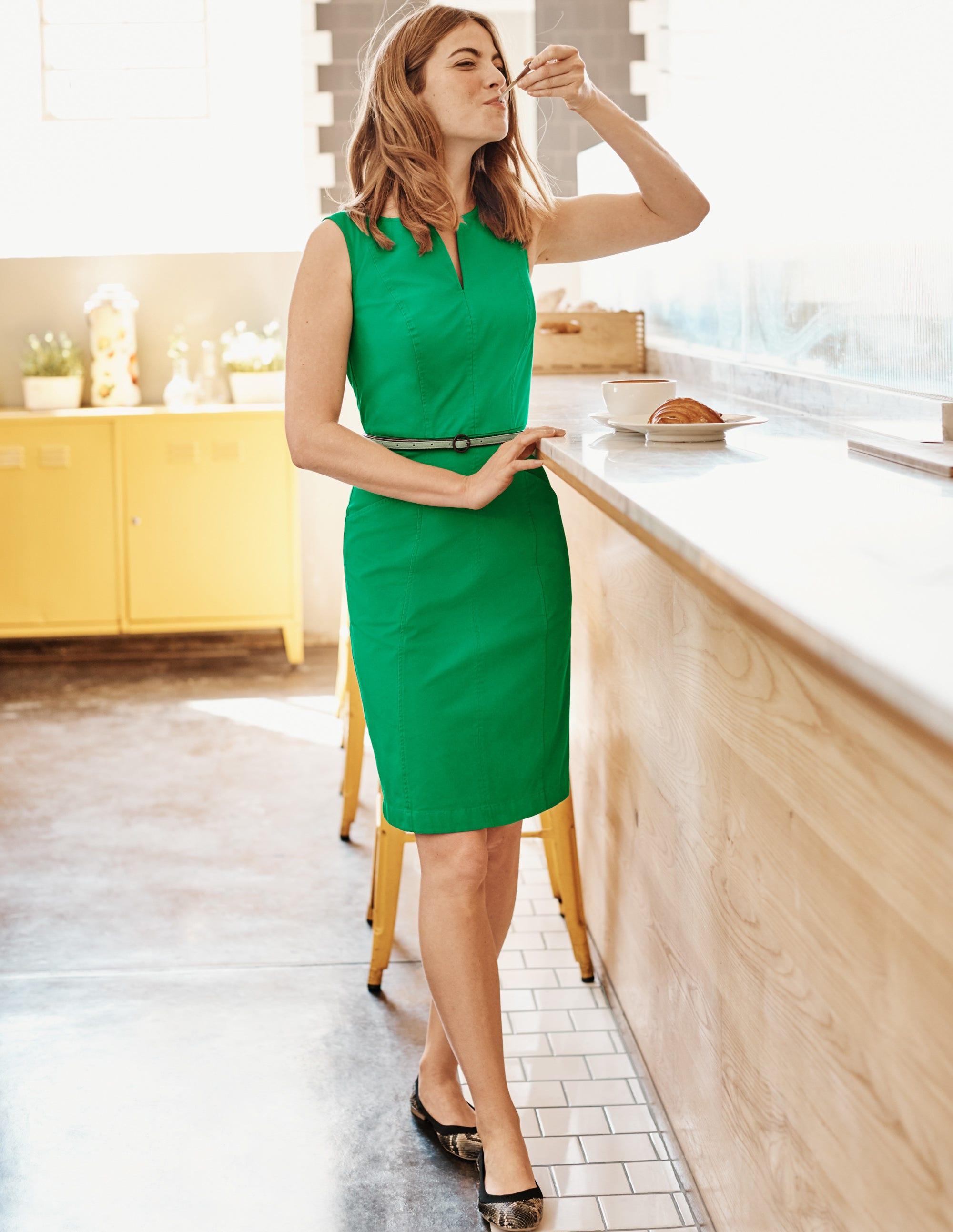 Boden Helena Chino Dress - Rich Emerald