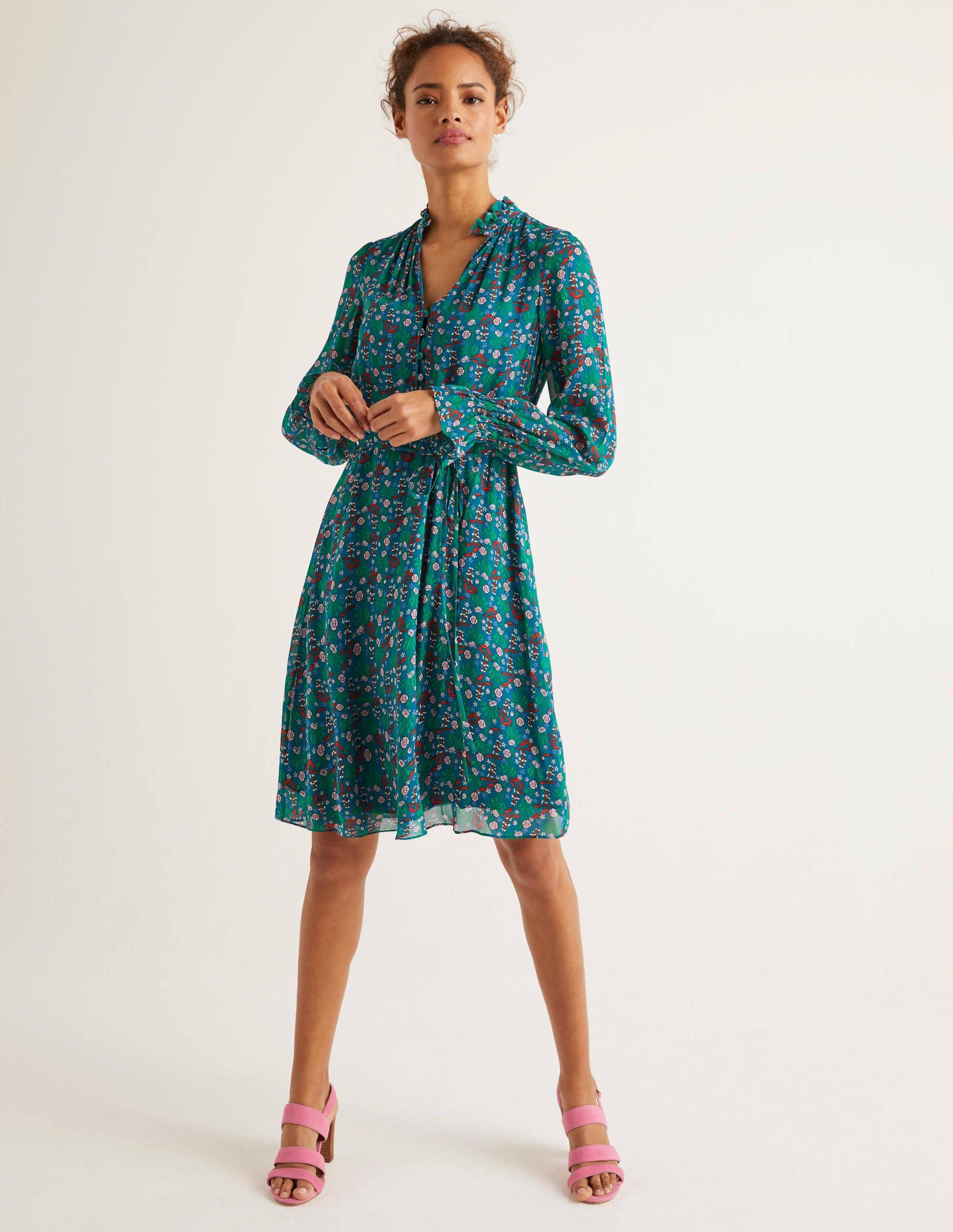 Boden Evangeline Dress - Vibrant Teal, Garden Charm