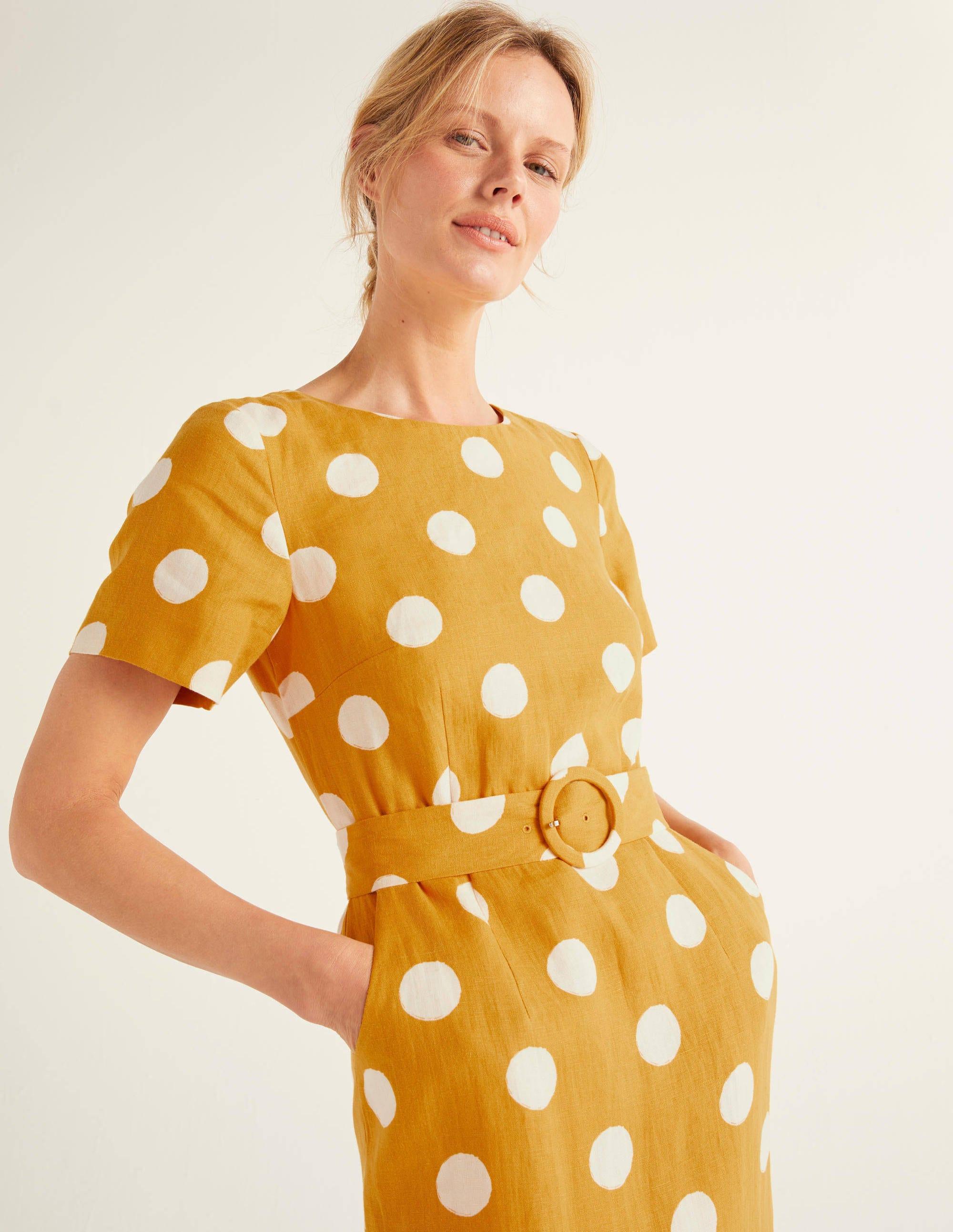 Robe à ceinture Hazel en lin DYL Femme Boden, Yellow