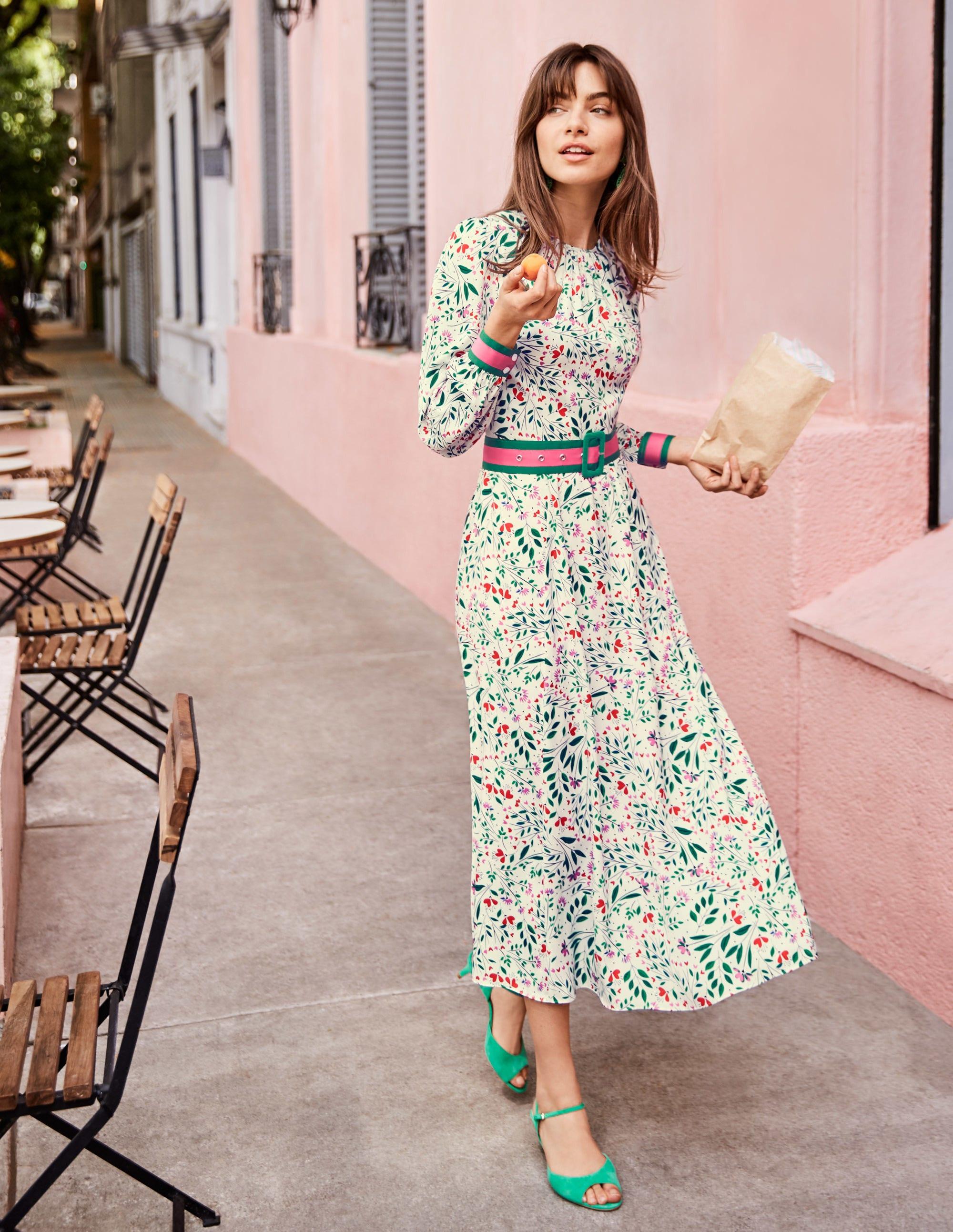 Victoria Midi Dress - Ivory, Garden