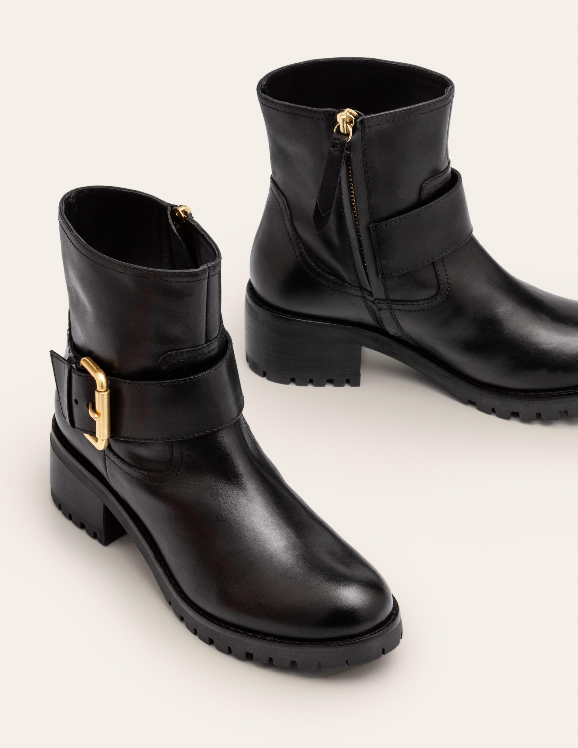 Bristol Biker Boots - Black | Boden US