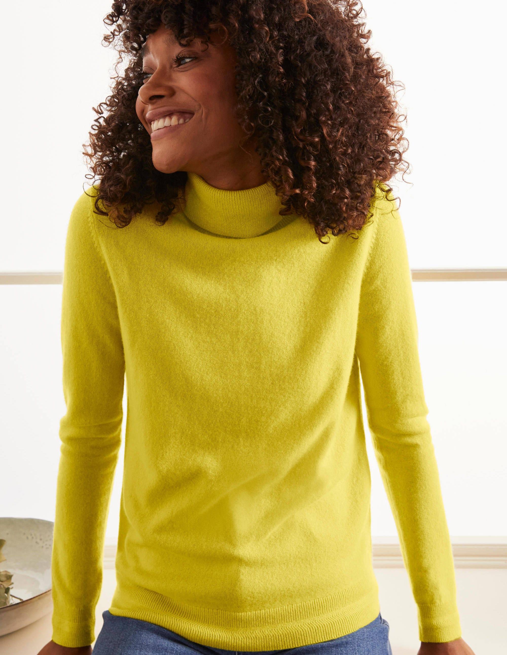 Pull col roulé en cachemire SUN Femme Boden, Yellow