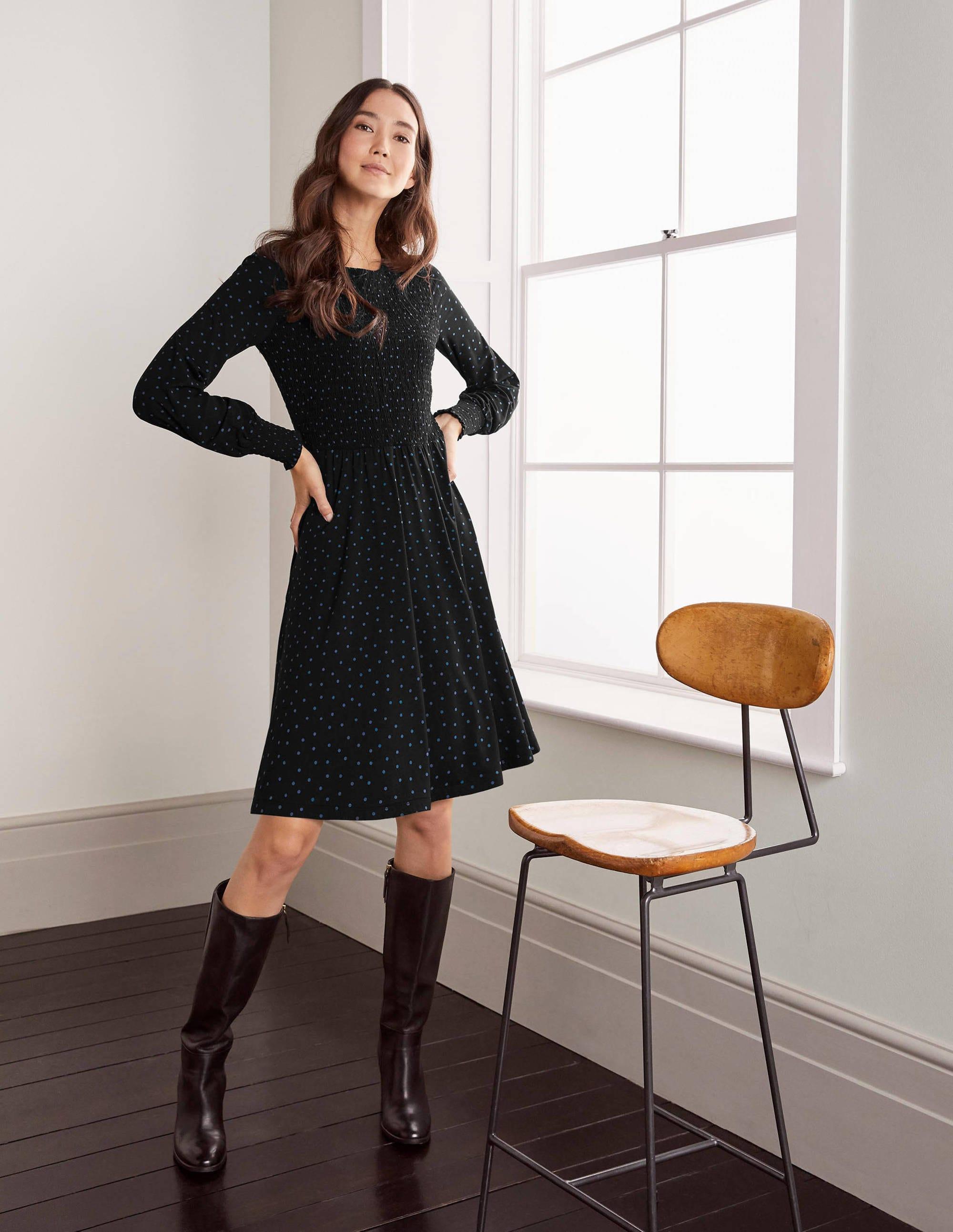 Boden Lena Smocked Jersey Dress - Black/Drake, Polka Dot